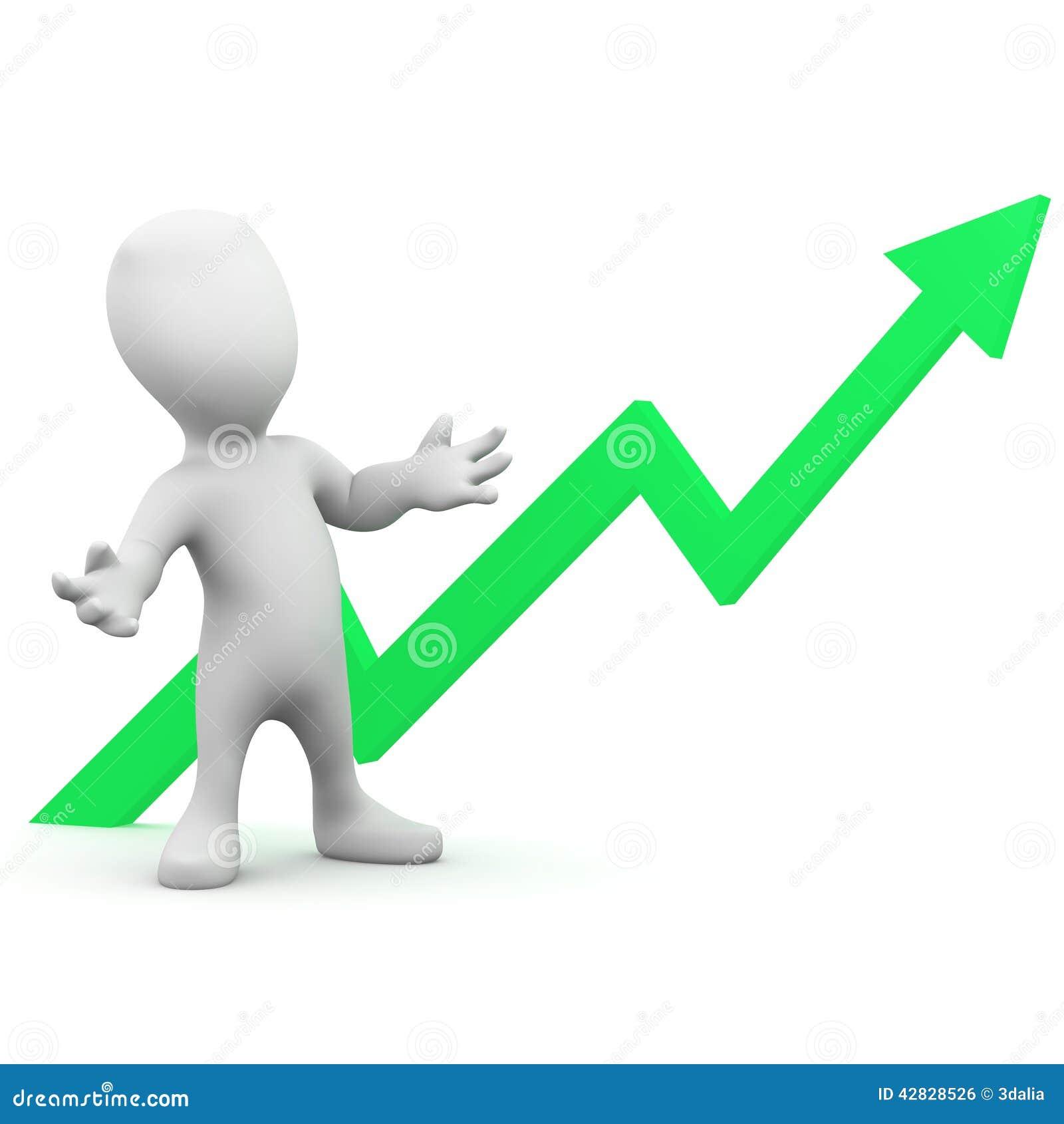 3d Little man expects positive growth