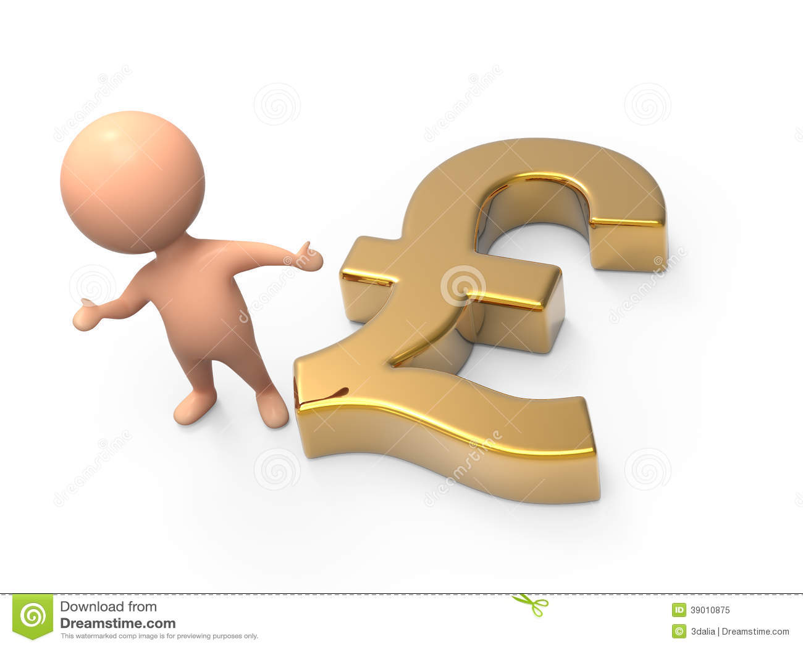 3d Little Man Gold Uk Pound Symbol Stock Illustration Illustration