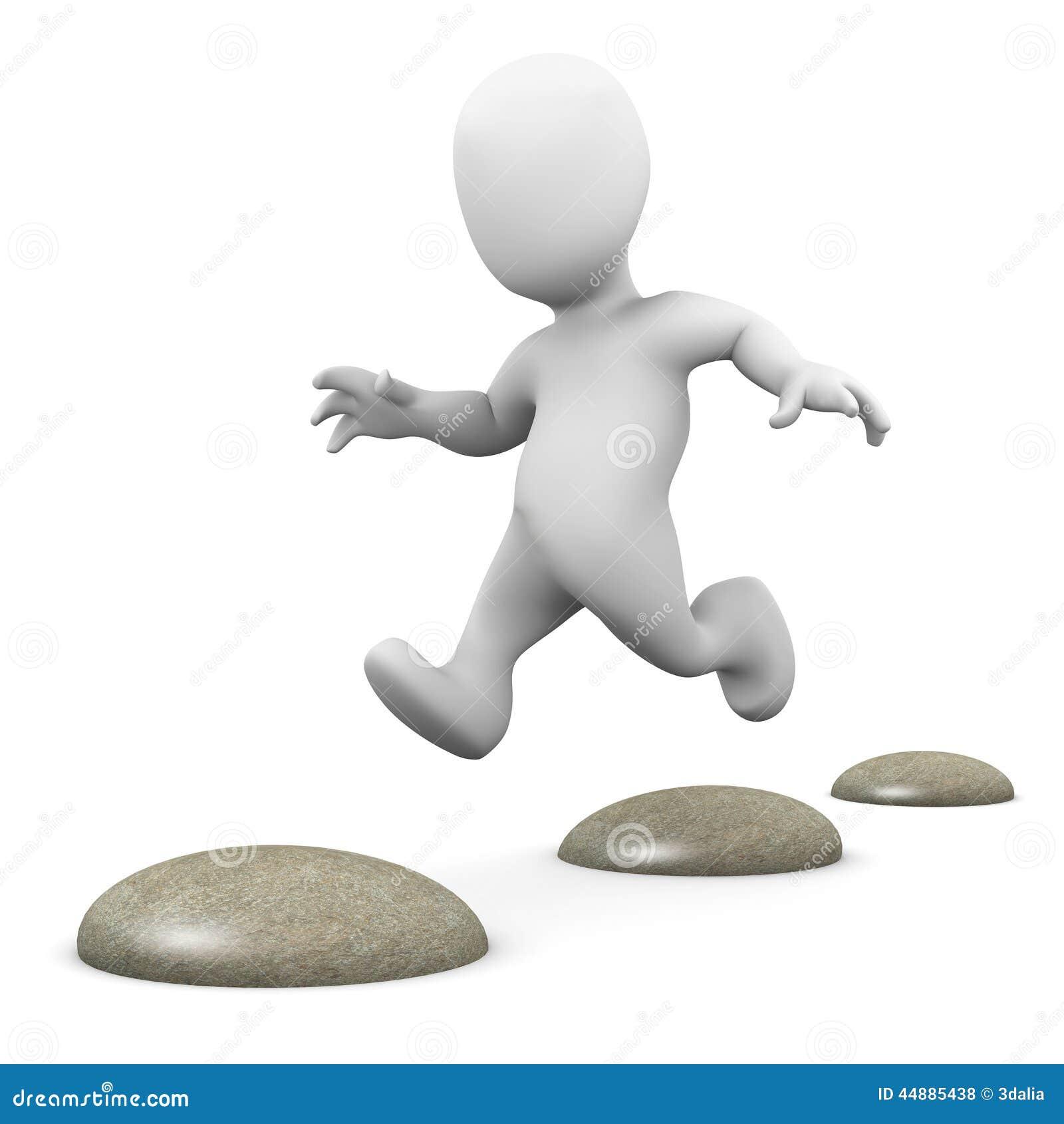 Stepping Stones Clip Art : D little man hopping over stepping stones stock