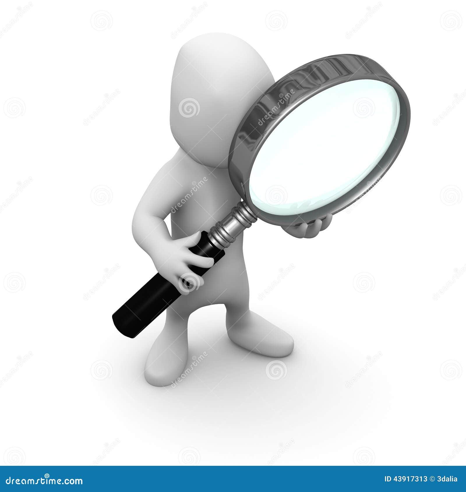 3d Little man looks through a magnifying glass