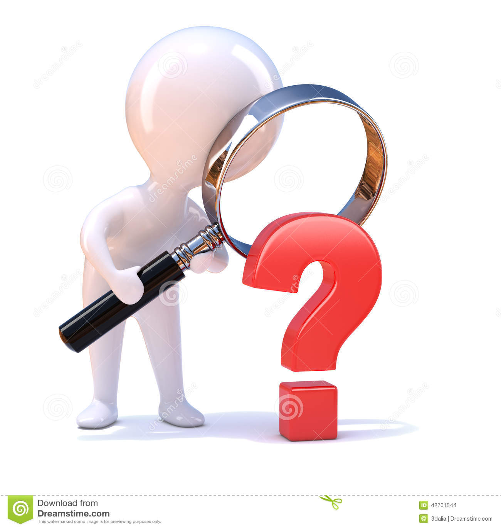 3d Little man looks at a question mark