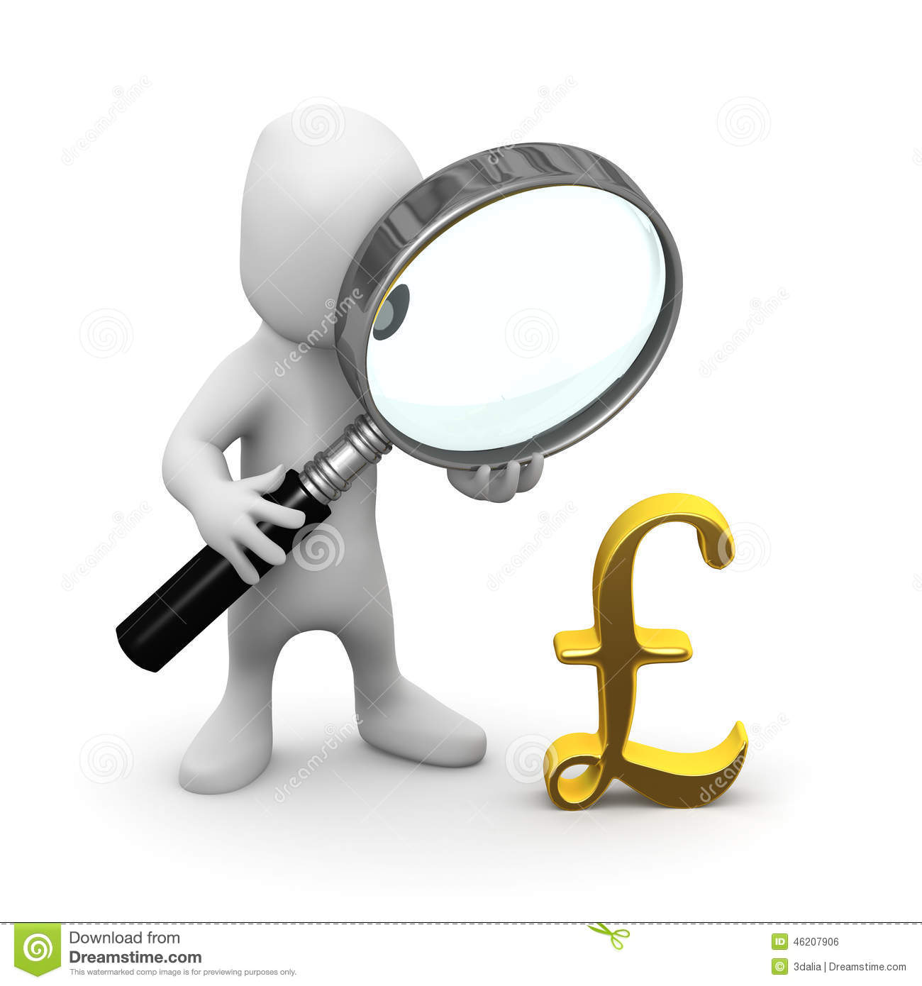 3d Little Man Magnifies Uk Pounds Currency Symbol Stock Illustration