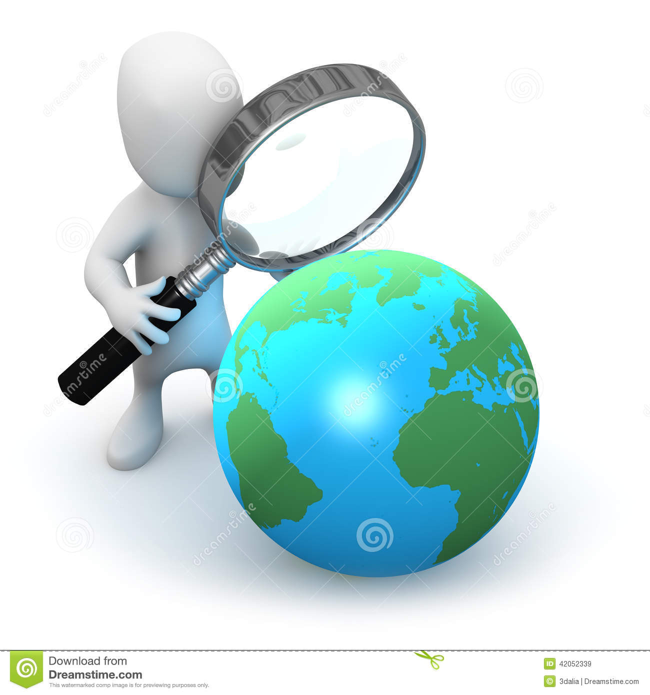 3d Little Man Studies A Globe Of The Earth Stock Illustration - Image ...