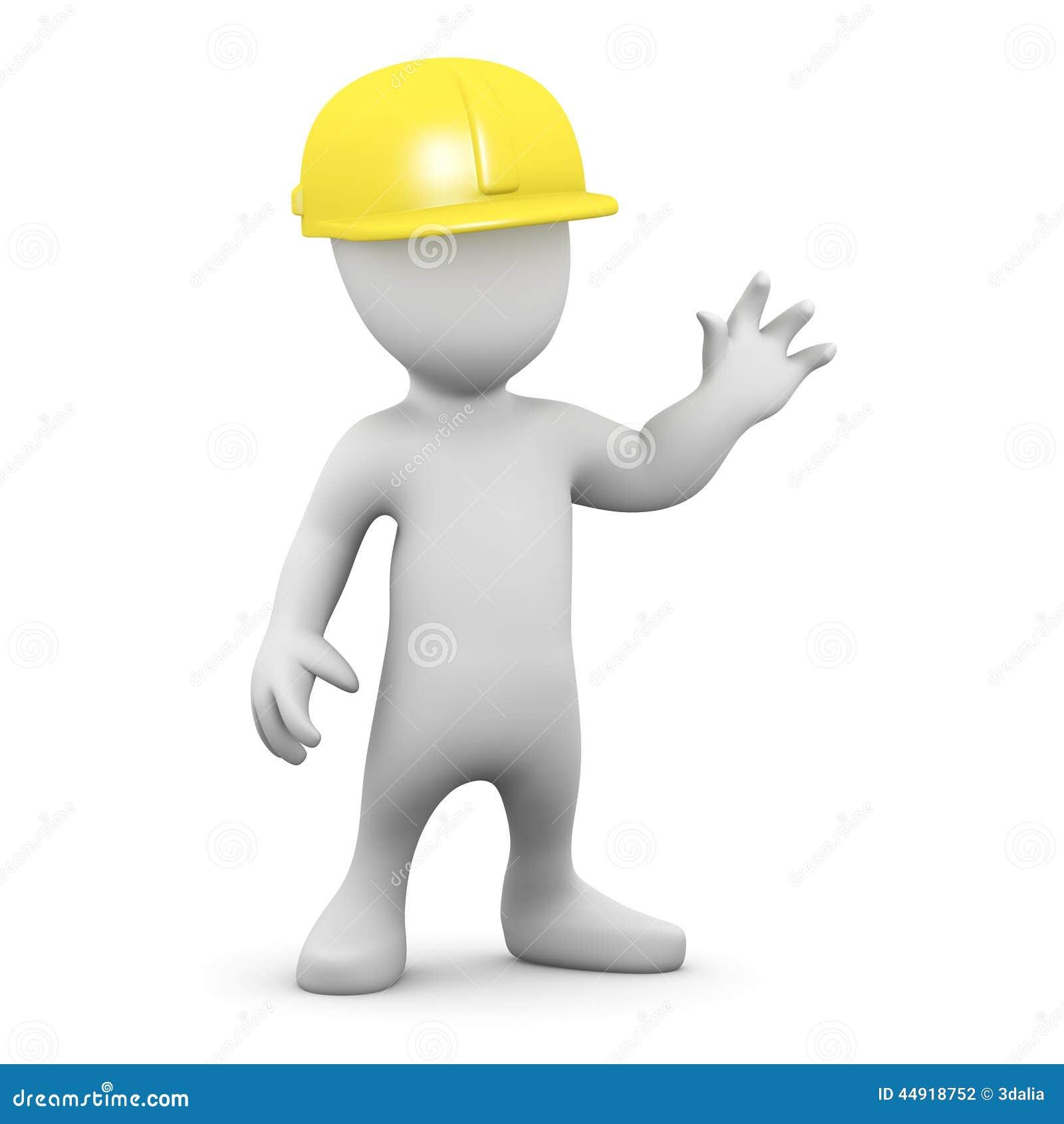 3d Little Man Wearing A Hard Hat Stock Illustration