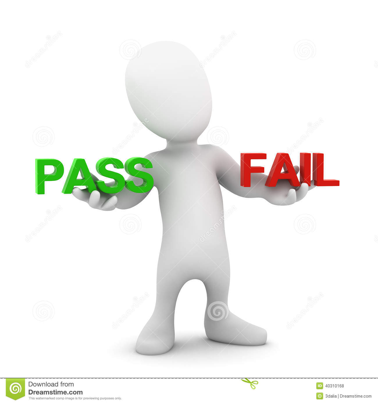 3d Little Person Pass Or Fail Stock Illustration - Image: 40310168