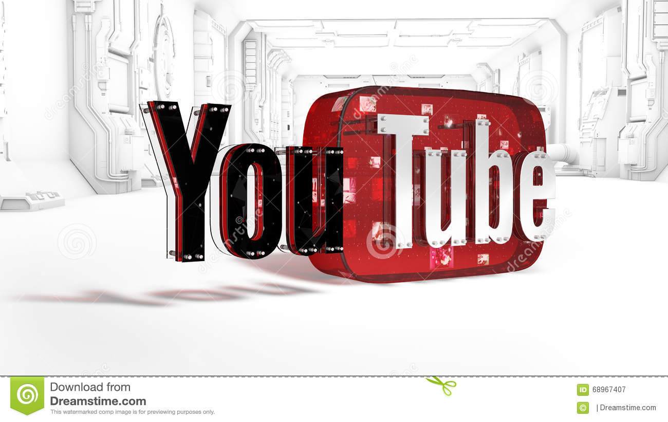 The 3d Logo Of The Brand Youtube Editorial Photography