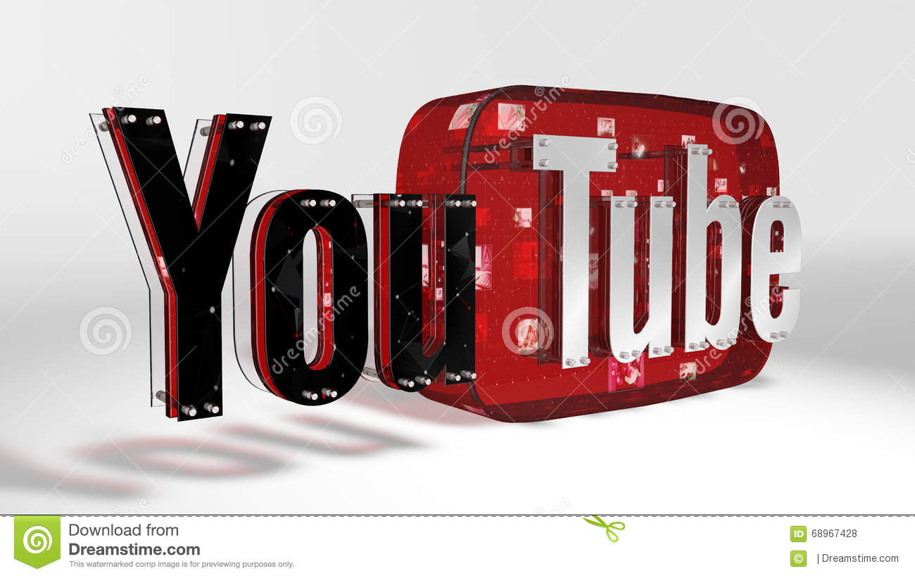 The 3d logo of the brand youtube editorial stock photo for 3d drawing website