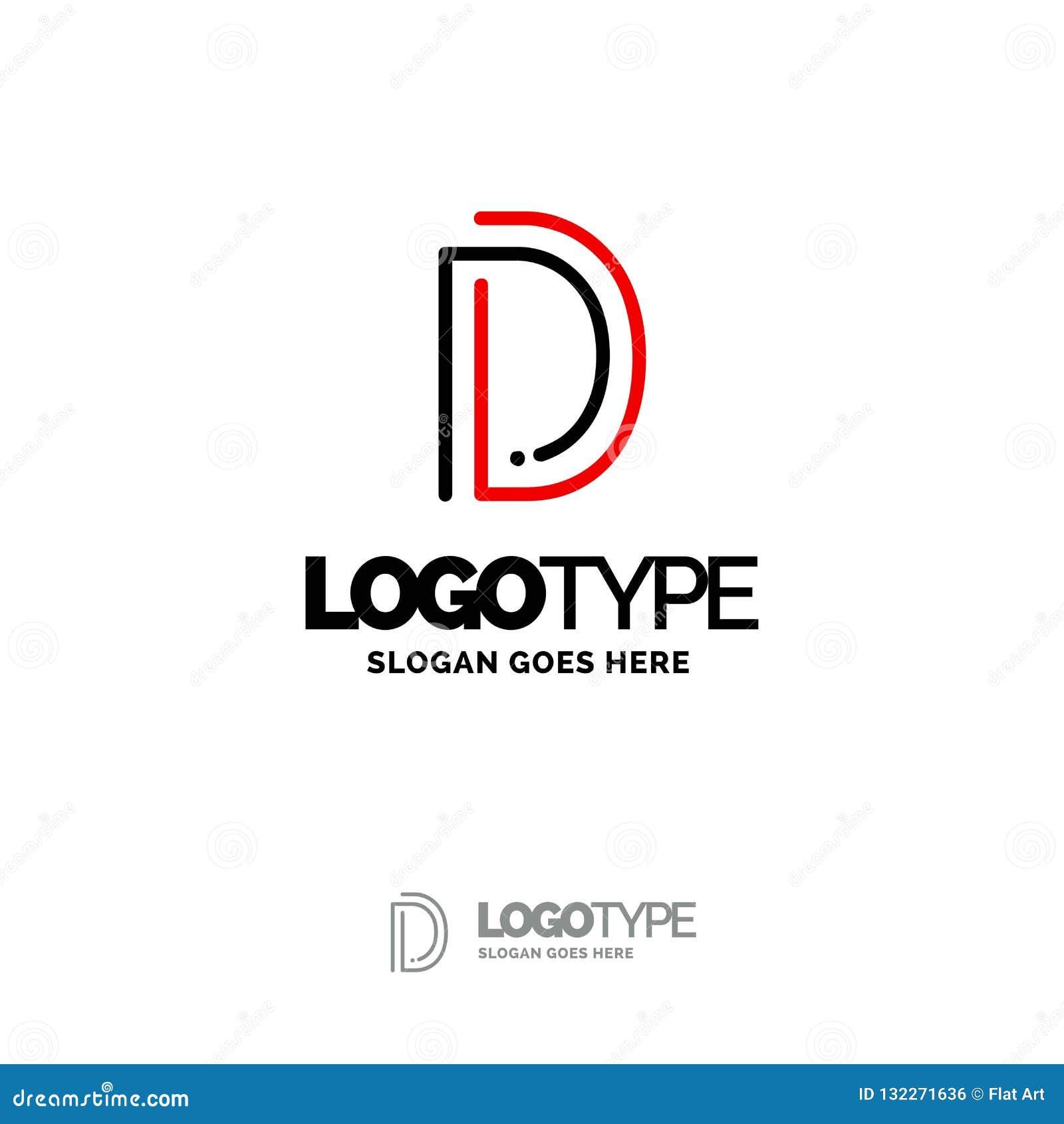 D logo Cyfrowego loga szablon Czarny i Czerwony logo szablon, technika