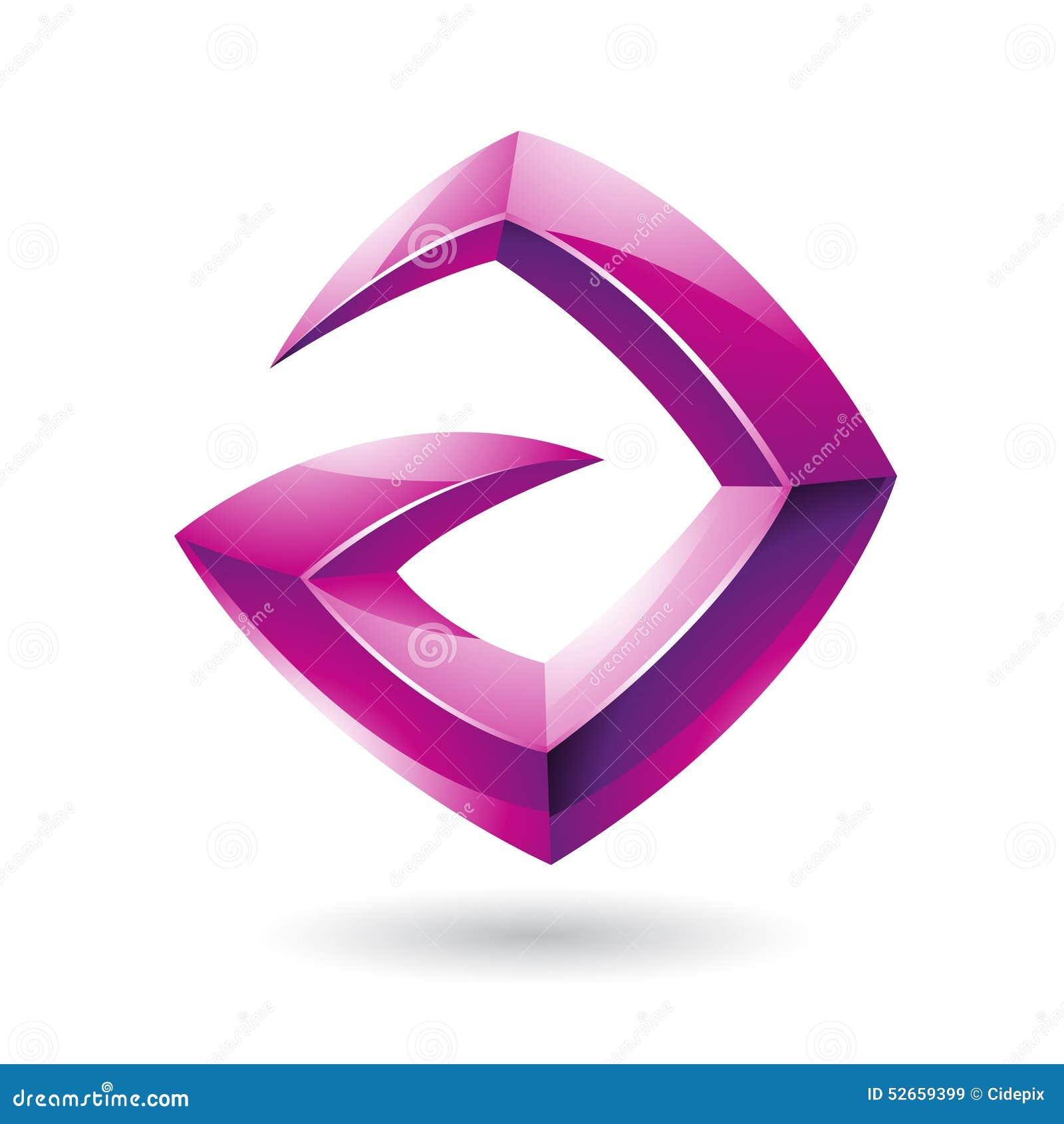 3d Logo Icon magenta lustroso afiado baseou na letra A