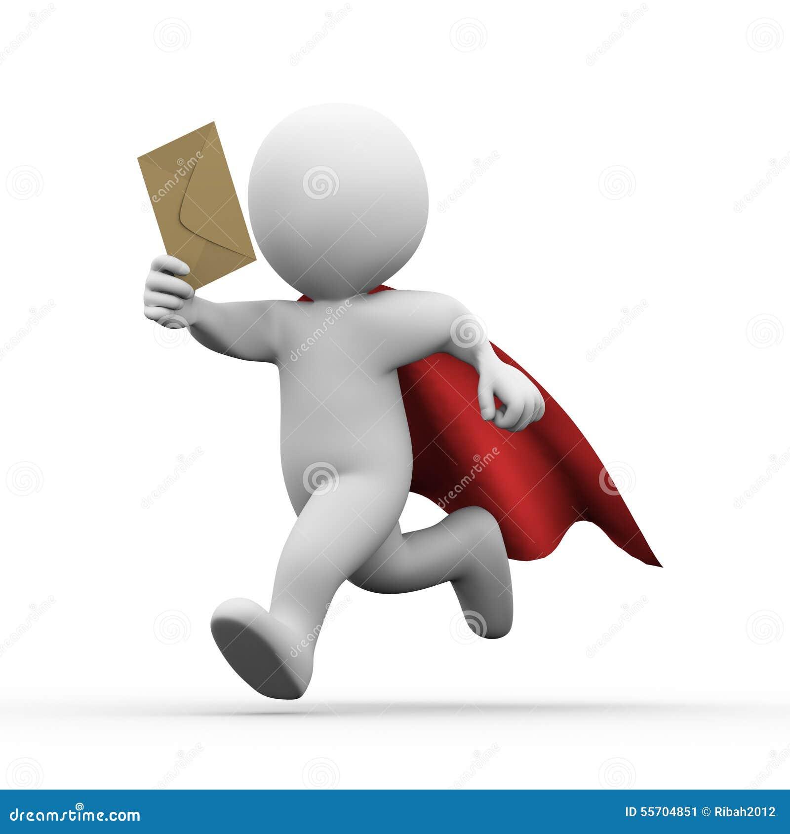 3d lopende super heldensuperman met e-mail wikkelt