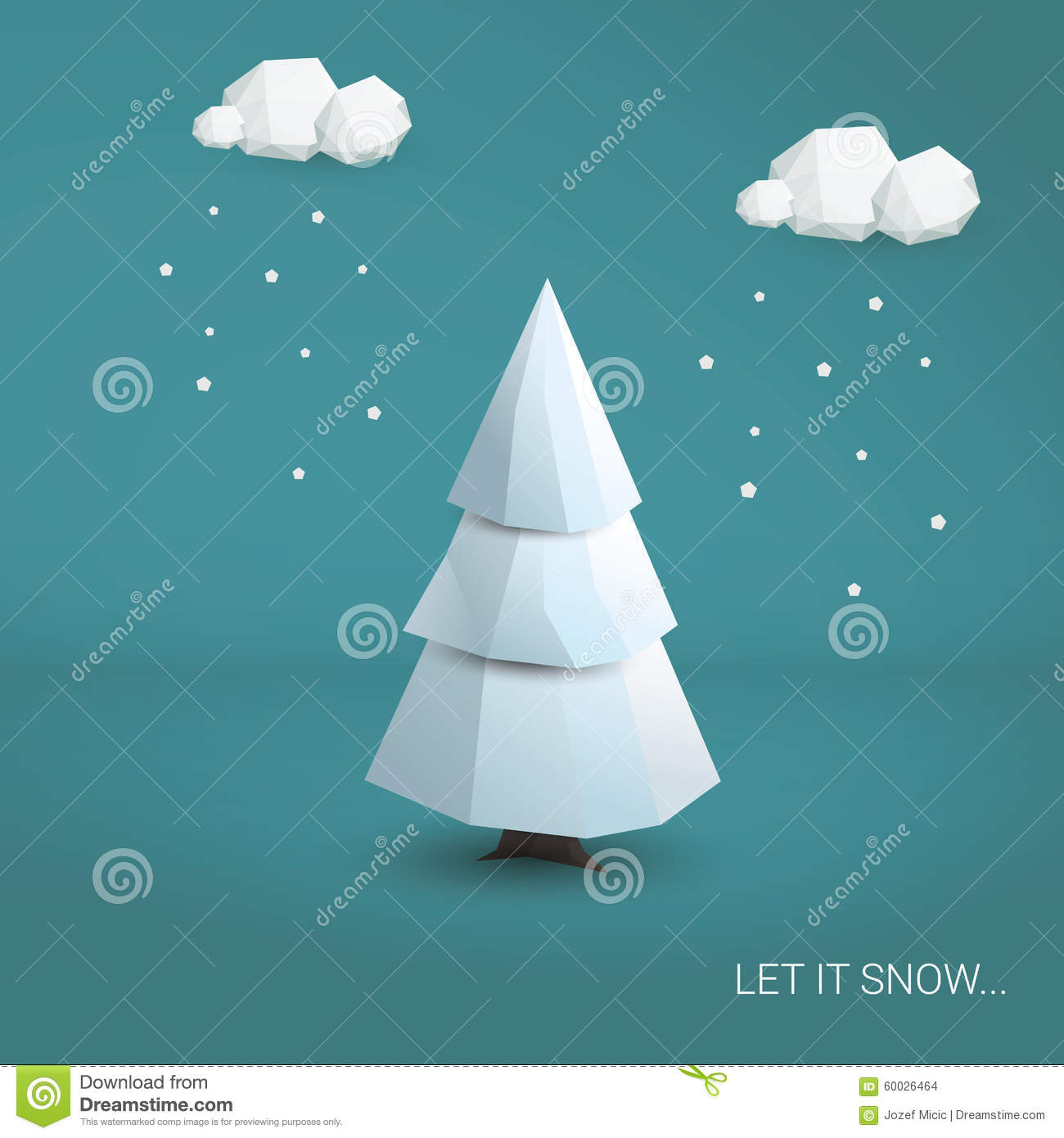 Low Poly Christmas Tree Holiday Card Template Vector – Holiday Card Template