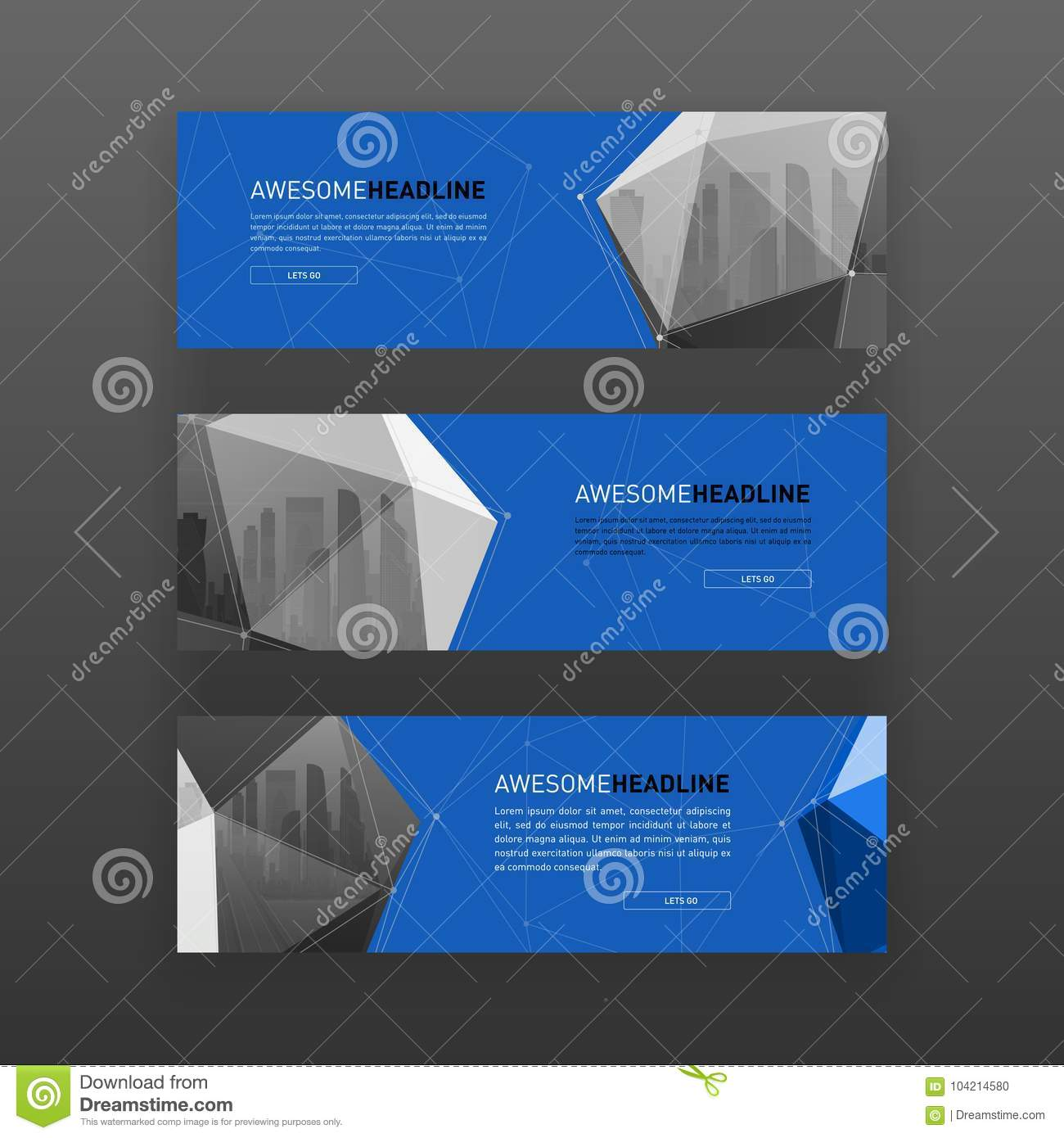 3d lowpoly solid abstract website slider template stock vector