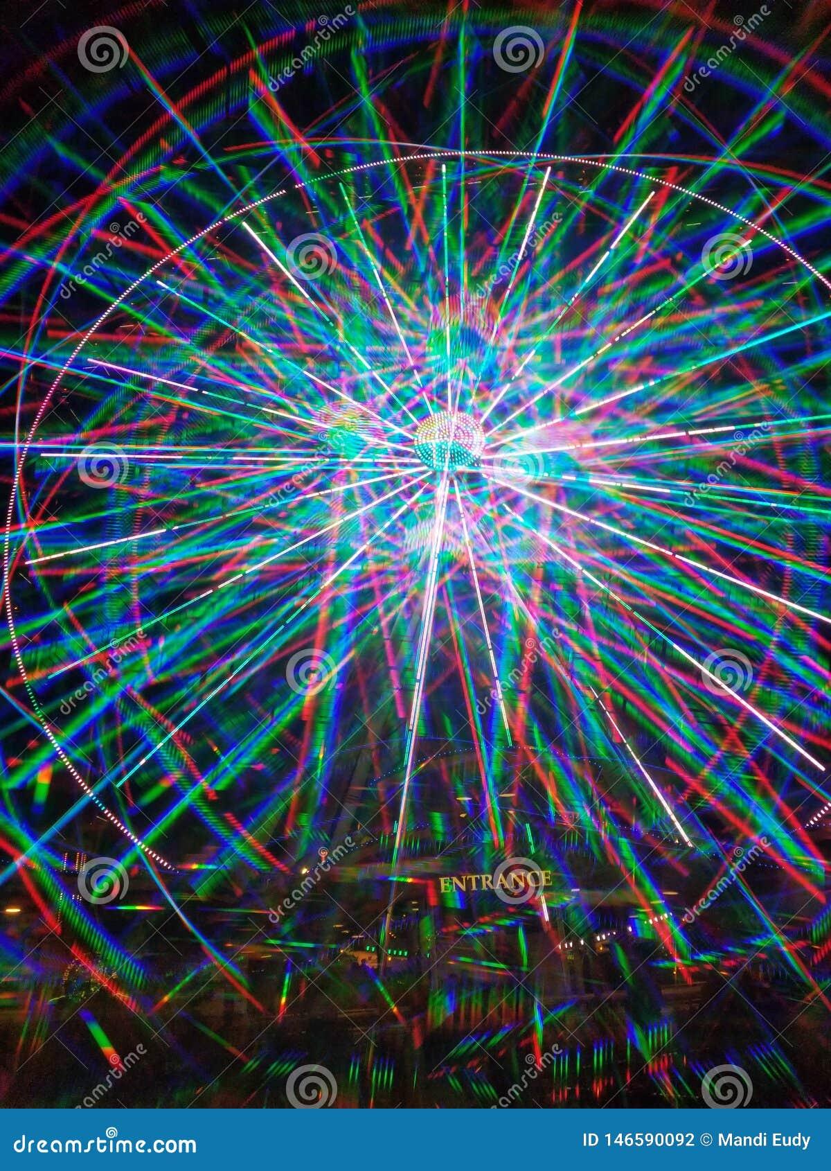3D luces multicoloras LED azules la noria de Pigeon Forge de la isla
