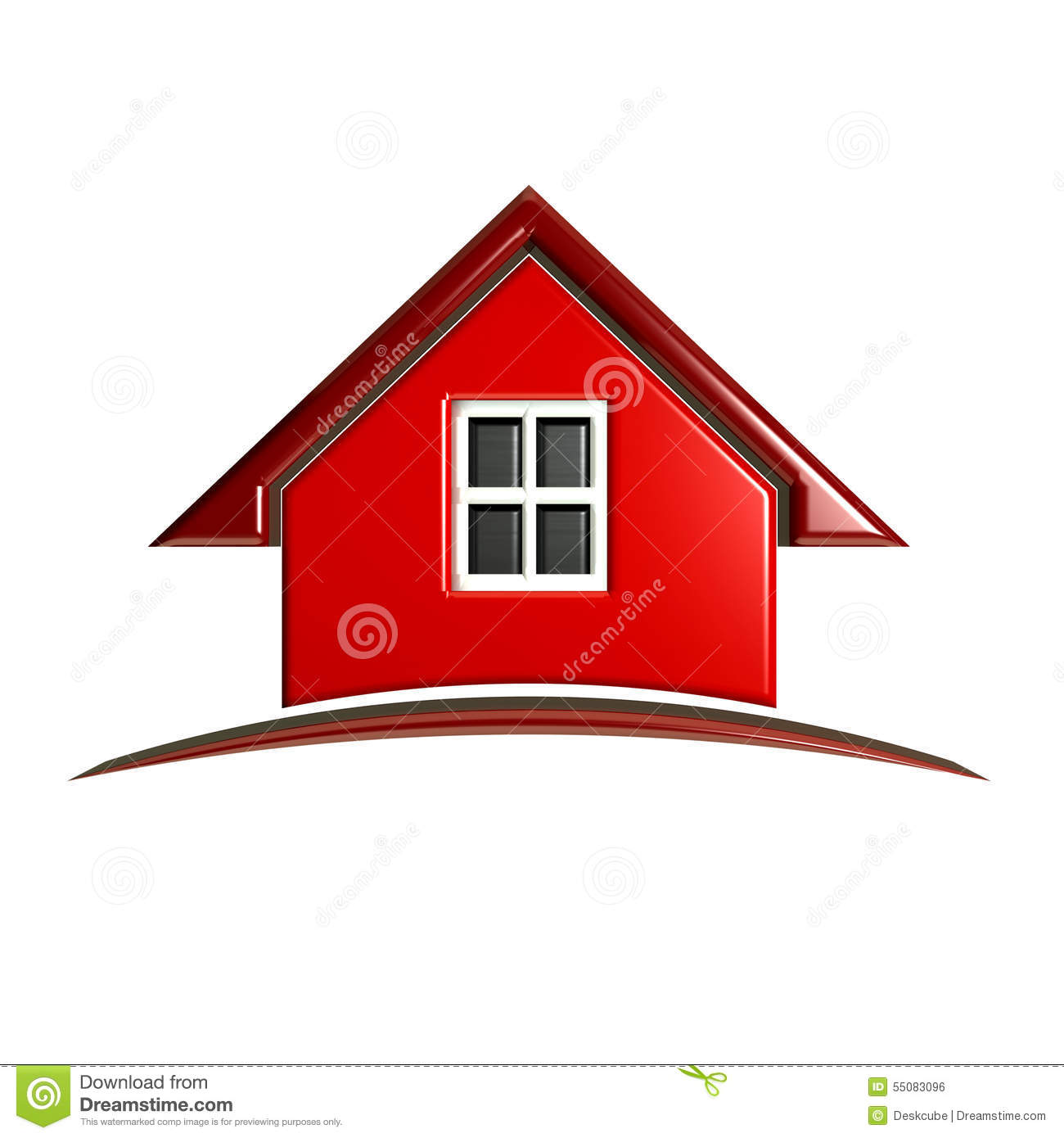 3D Red House Logo With Arch Stock Illustration