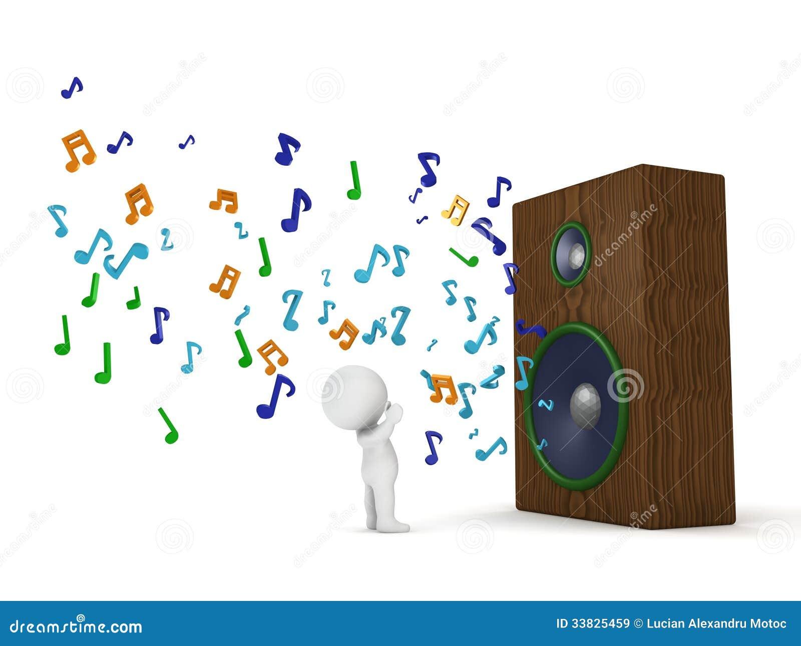 3D mężczyzna i Ogromny Głośny mówca z Muzykalnymi notatkami