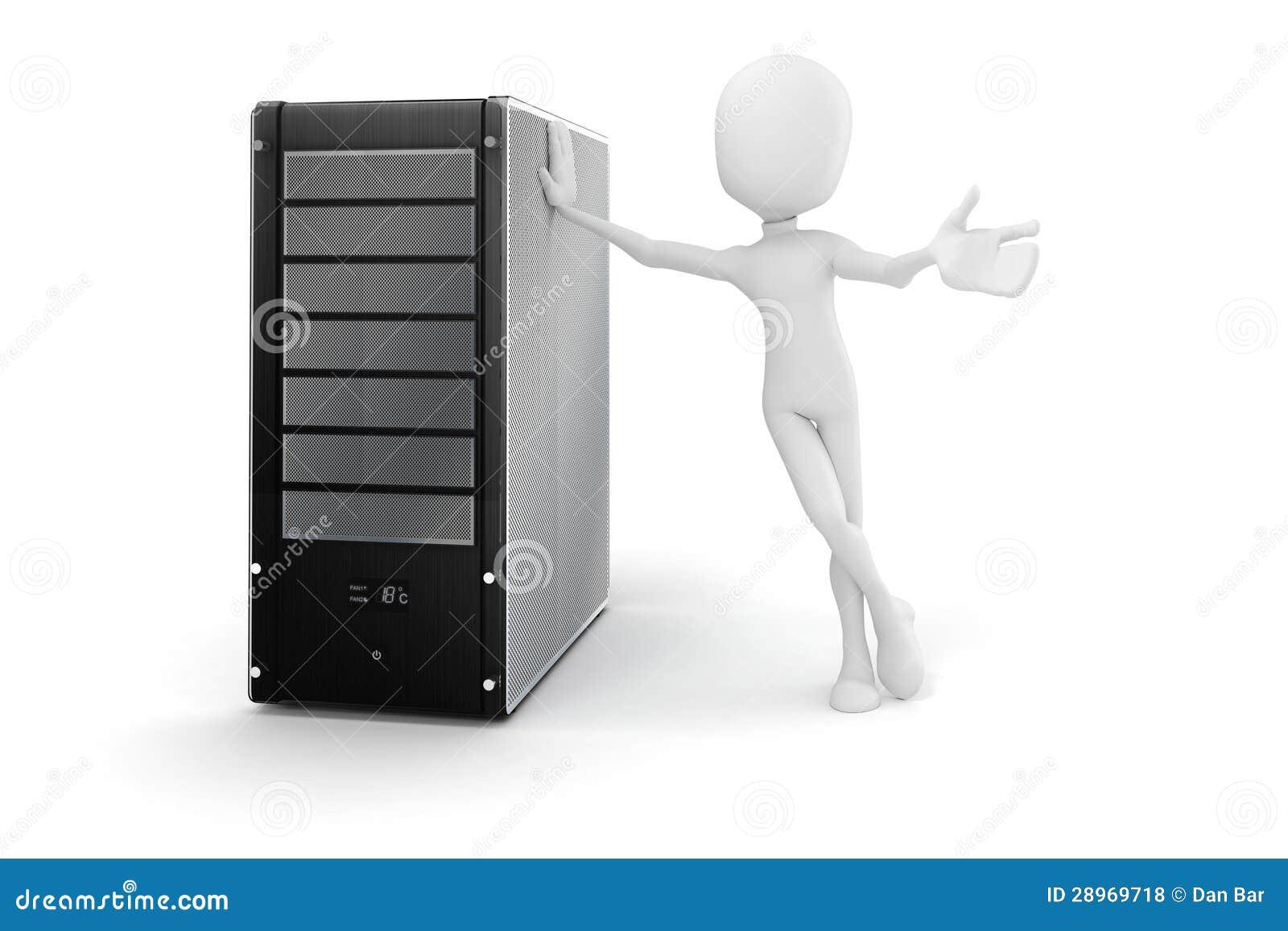 3d mężczyzna i serwer, narzędzia utrzymanie