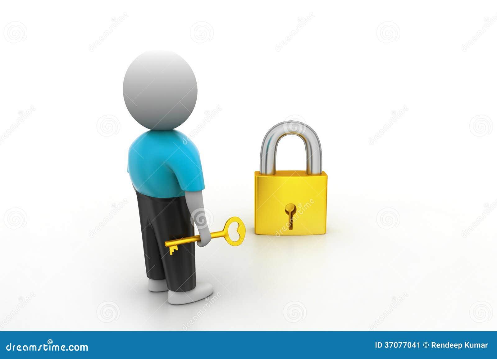 Download 3D Mężczyzna Trzyma A   Klucz I Kłódka Ilustracji - Ilustracja złożonej z kłódka, ilustracje: 37077041