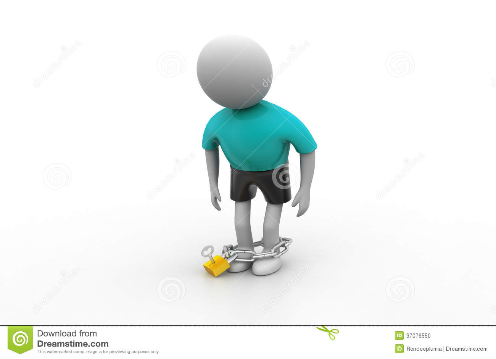 Download 3d mężczyzna z łańcuchem ilustracji. Ilustracja złożonej z przerwa - 37076550
