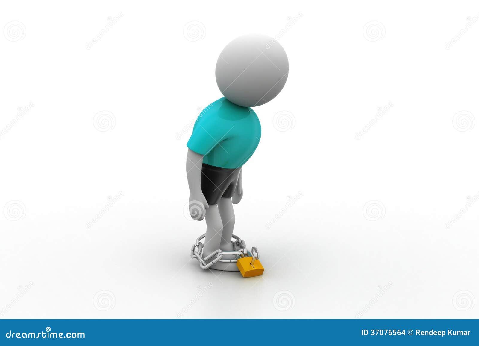 Download 3d mężczyzna z łańcuchem ilustracji. Ilustracja złożonej z metal - 37076564