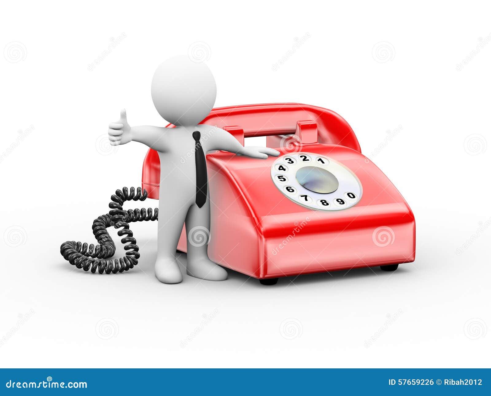 3d mężczyzna z obrotowym telefonu kciukiem up