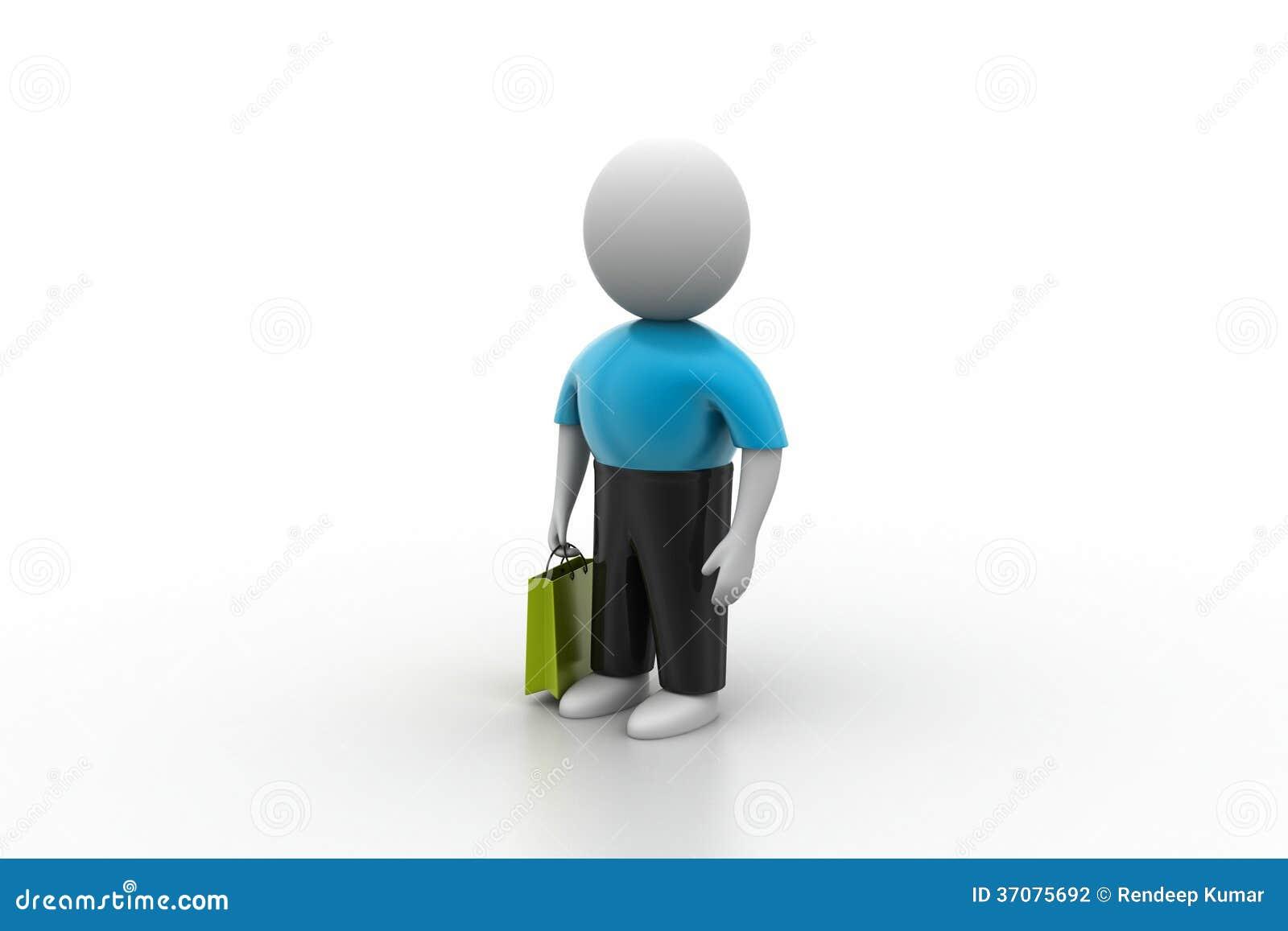 Download 3d Mężczyzna Z Torba Na Zakupy Ilustracji - Ilustracja złożonej z torba, konsument: 37075692
