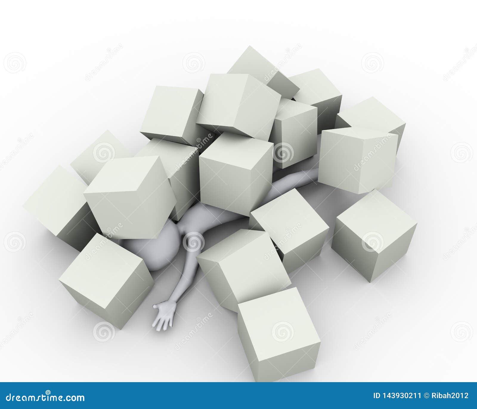 3d mężczyzna zakrywający pod pudełko sześcianami