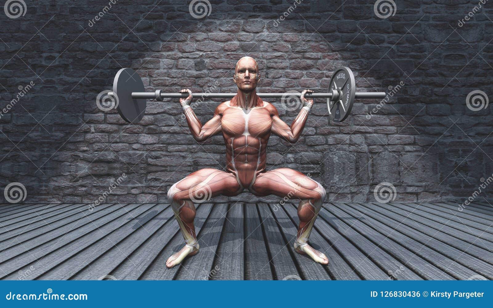 3D męska postać w barbell kucnięcia pozie w grunge wnętrzu