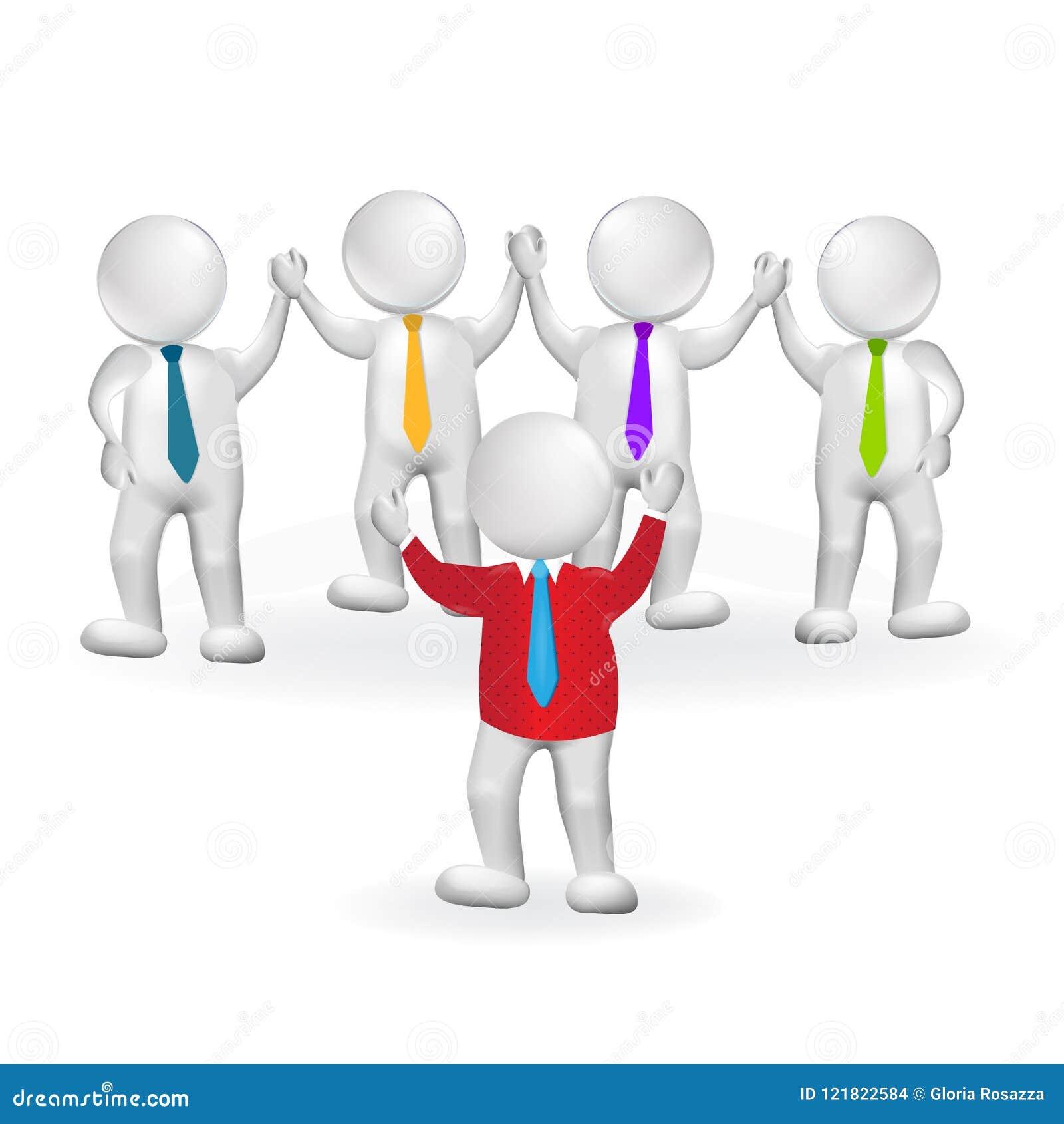 3d małej osoby lidera pracy zespołowej logo