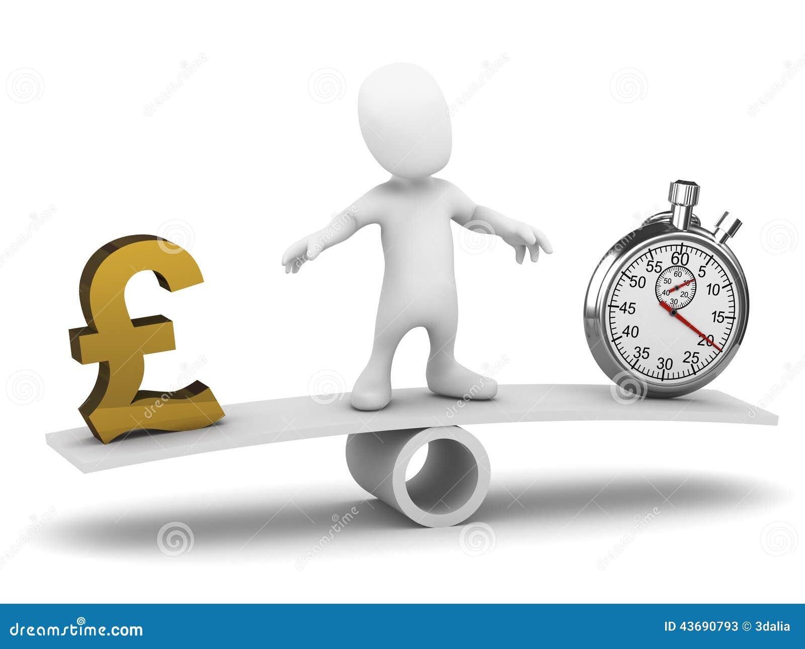 3d Mały mężczyzna balansuje czas i pieniądze