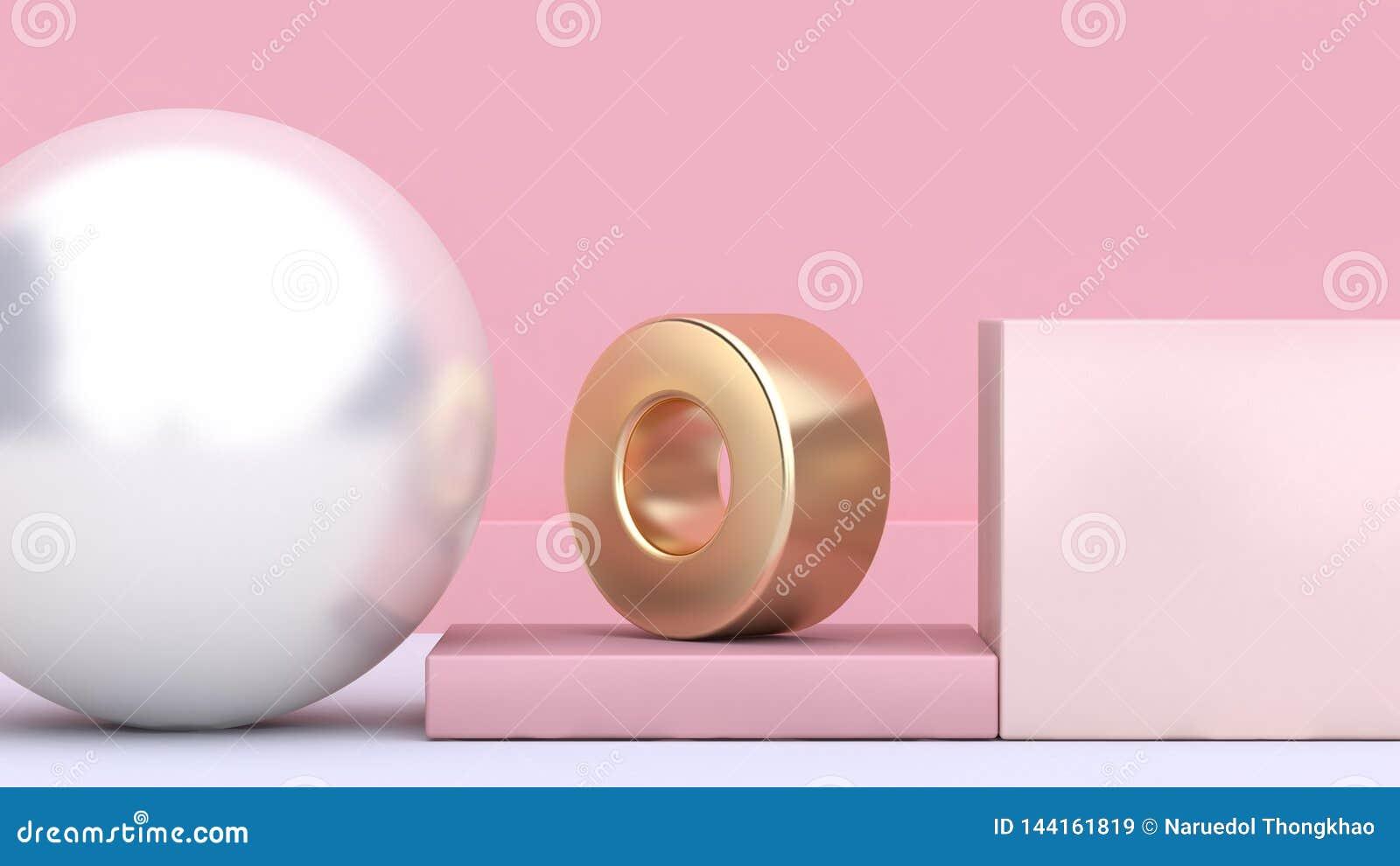 3d maak decoratie geometrische vormvorm wit gebied gouden ring