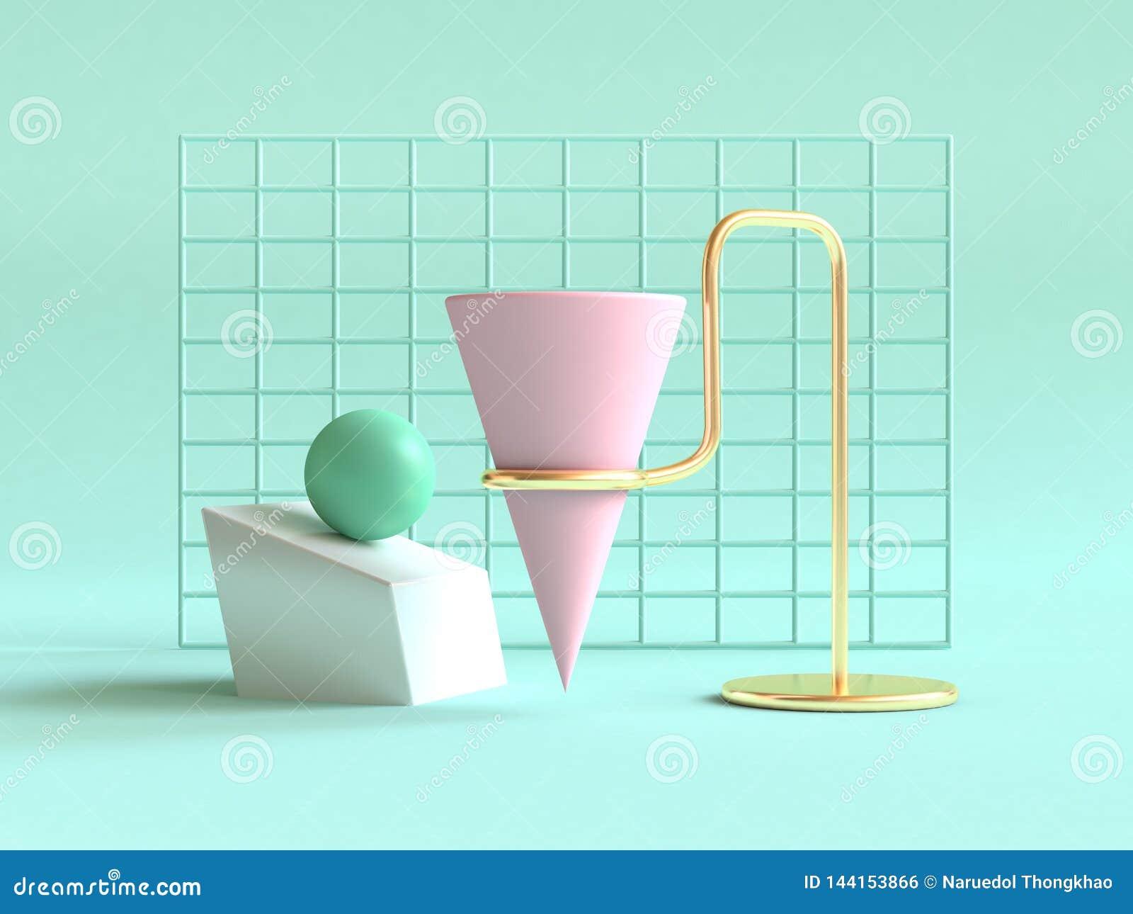 3d maak groene achtergrond geometrische vorm abstracte stillevenscène roze groen goud
