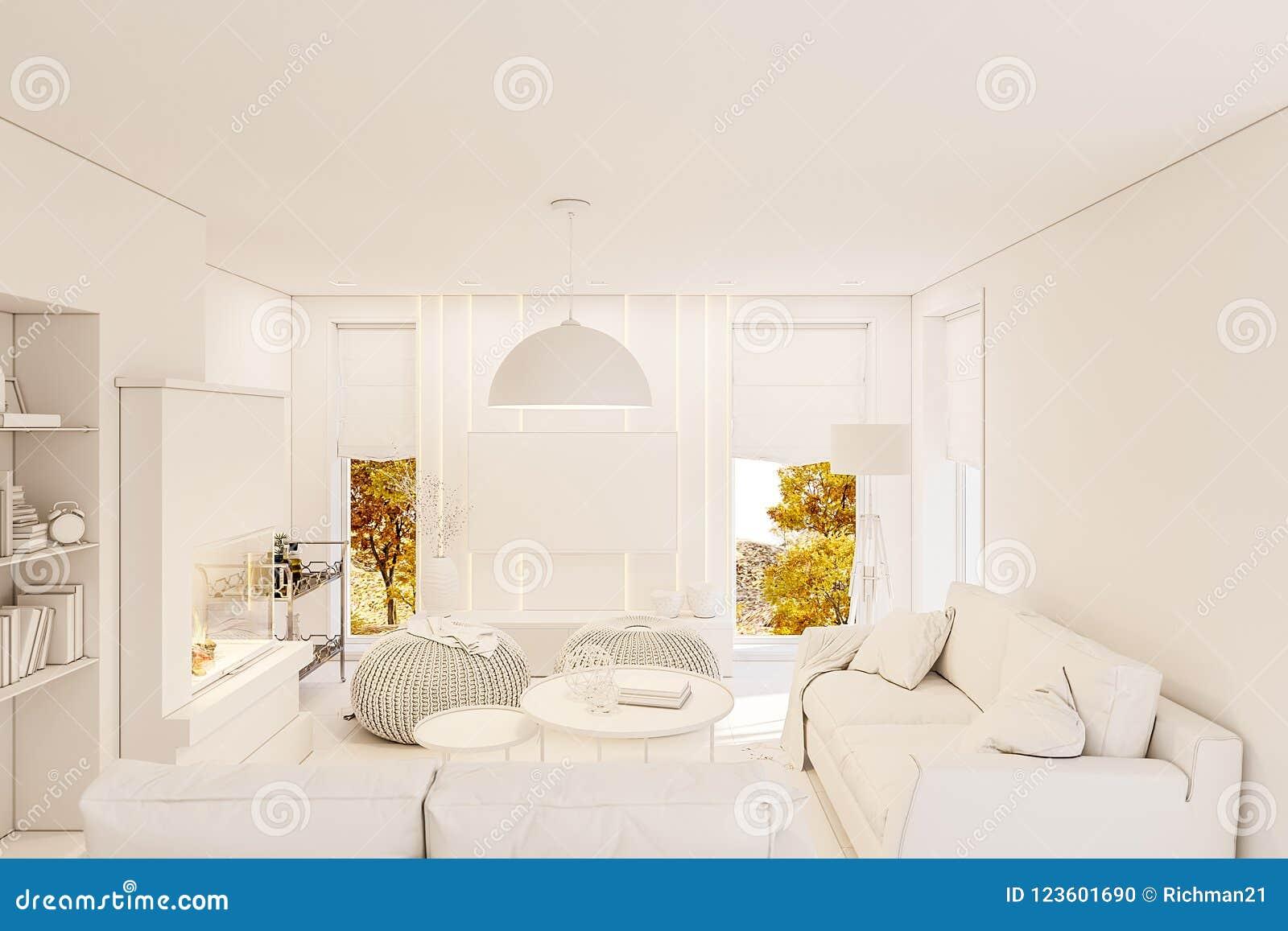 3d Maak Moderne Woonkamer Binnenlands Ontwerp Met Open Haard Stock ...