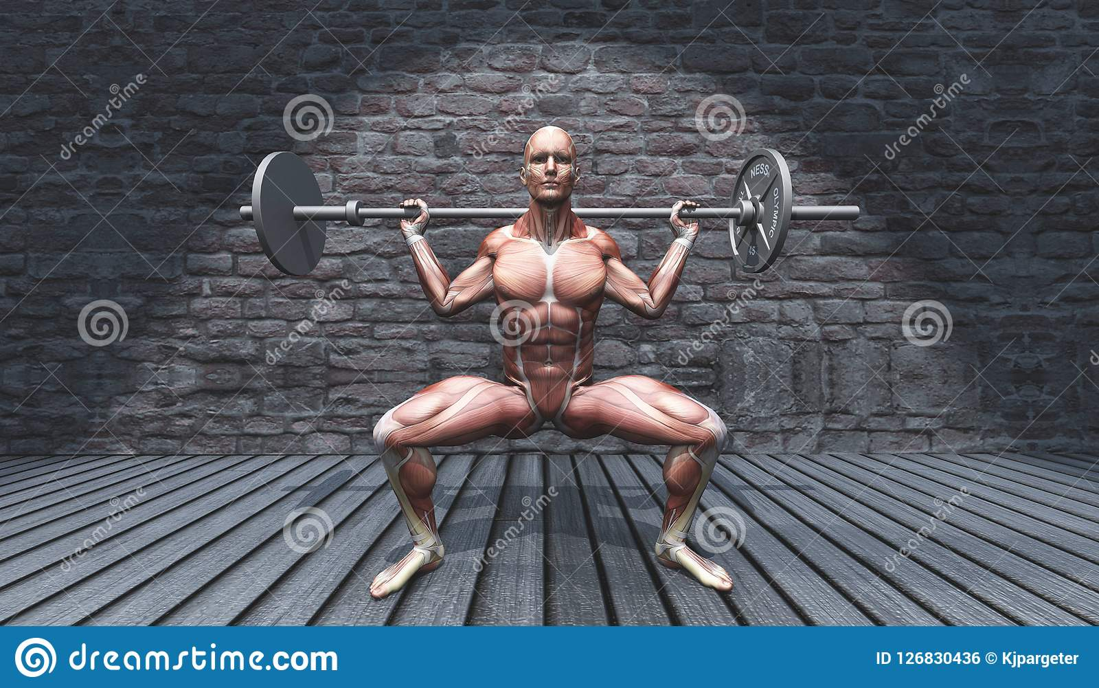 3D male figure in barbell squat pose in grunge interior