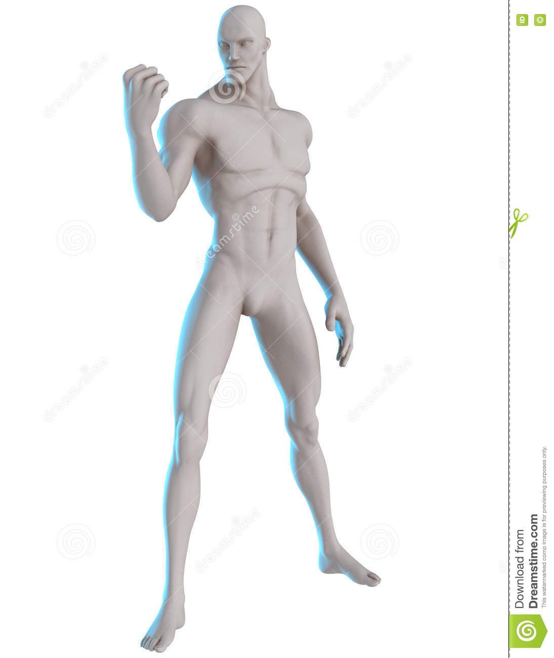 3D Male Hero Pose Reference Determined Stock Image