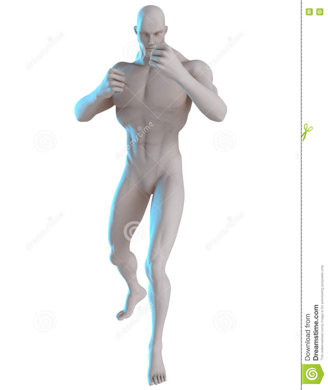 3D Male Hero Pose Reference Lets Fight Stock Photo