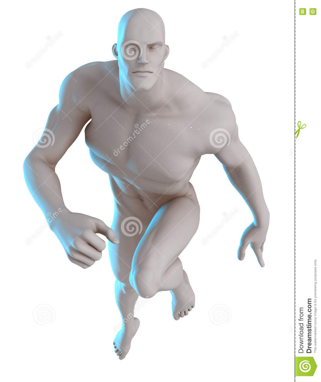 3D Male Hero Pose Reference Running Stock Image