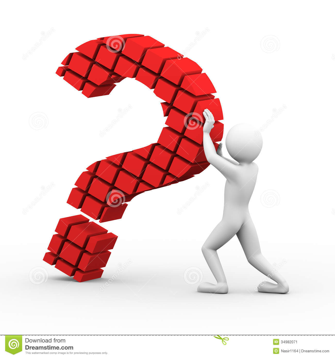 Pendleton (OR) United States  City pictures : 3d rendering of man holding falling block question mark sign symbol ...