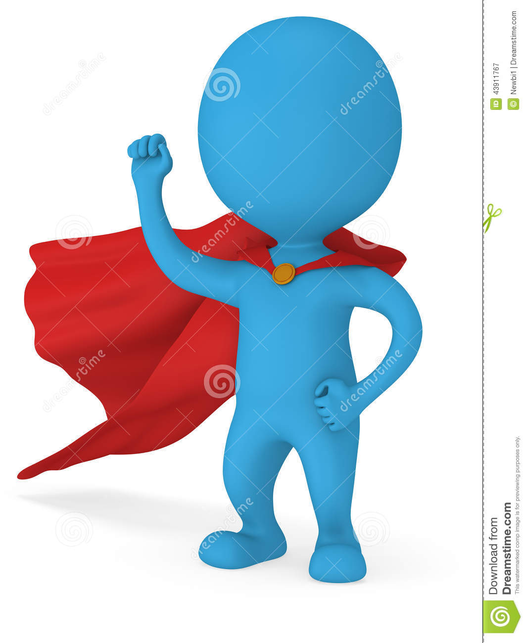 3d Man Brave Superhero With Red Cloak Stock Illustration ...