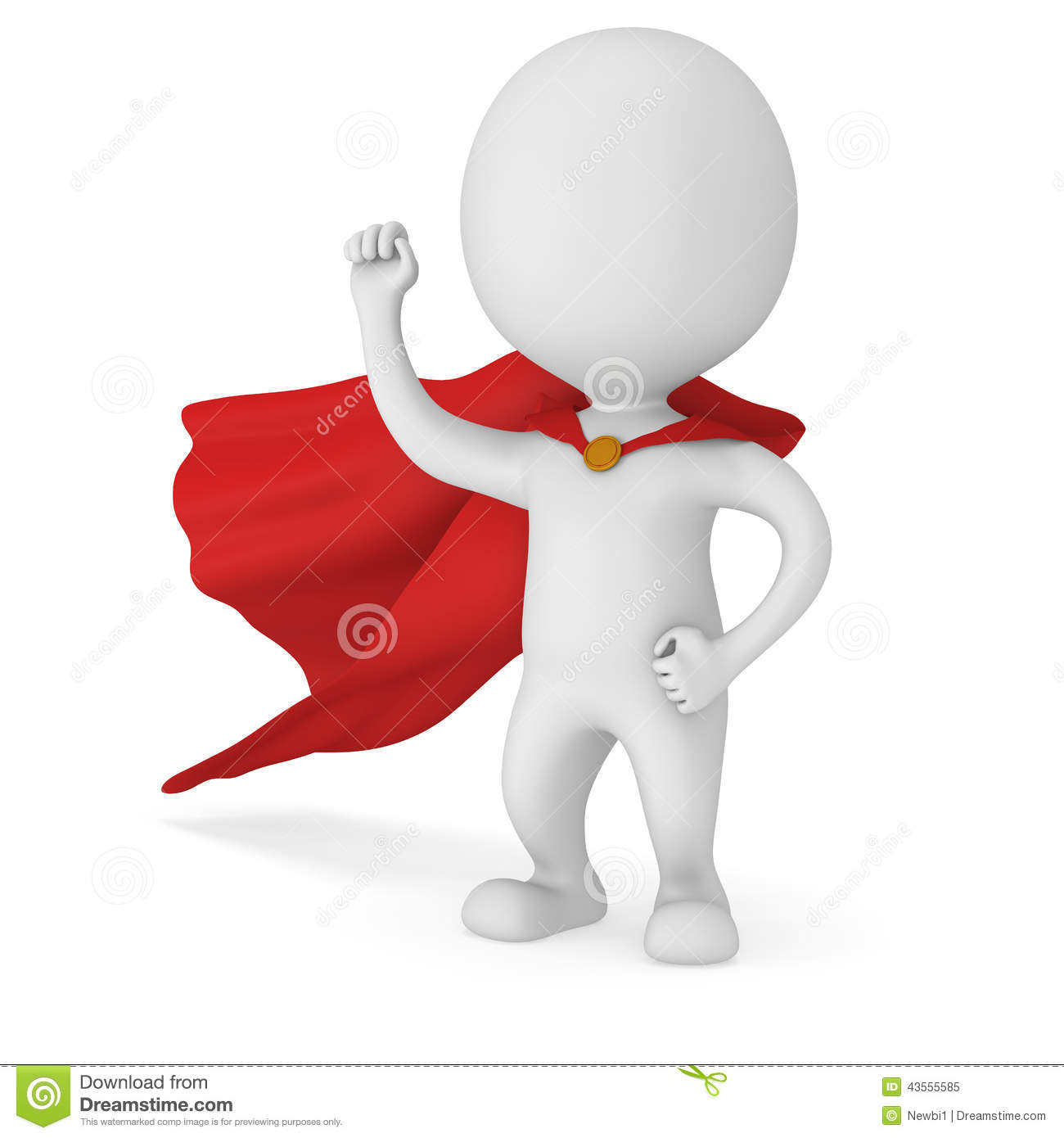 D Man Brave Superhero With Red Cloak Stock Illustration