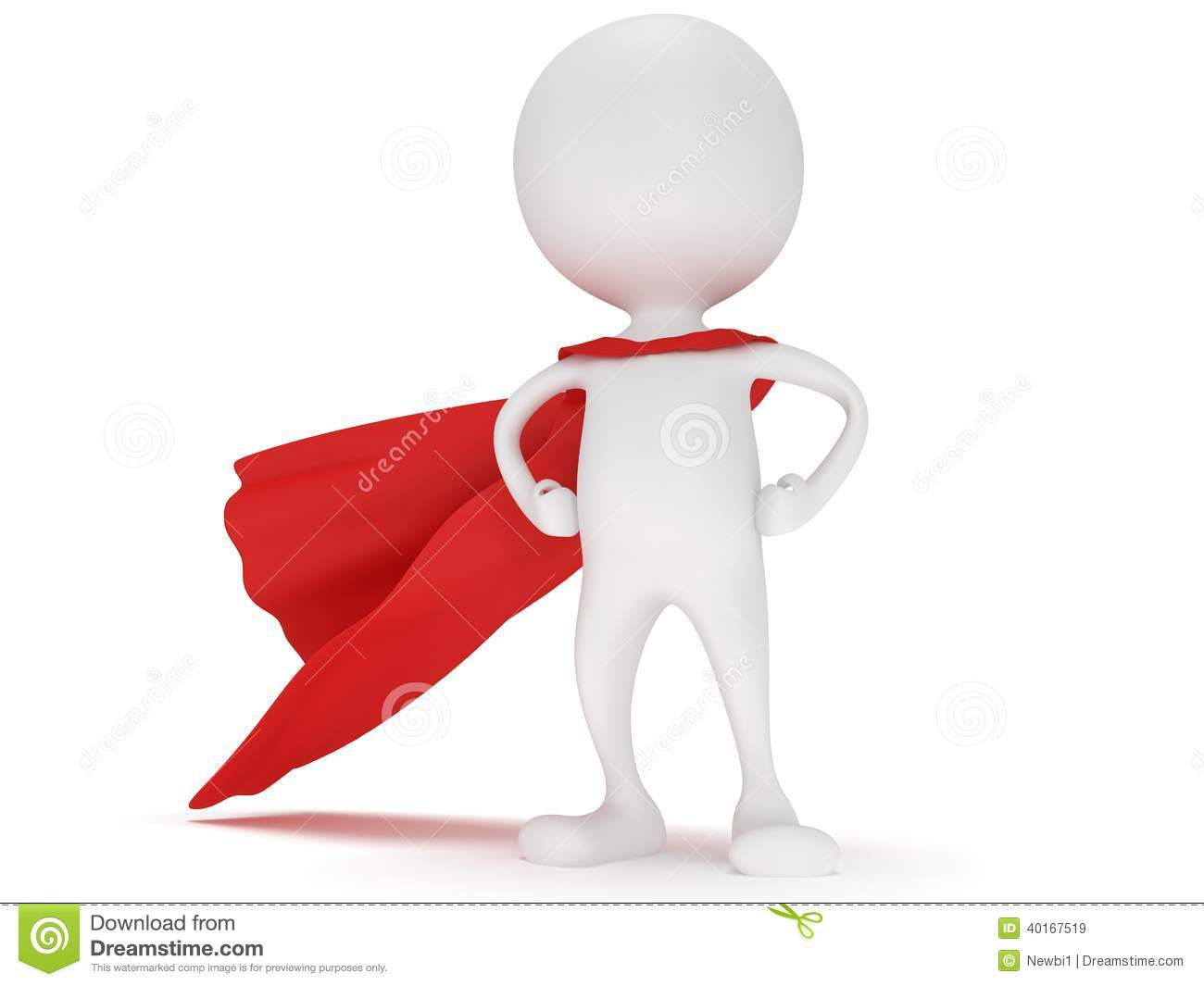 3d Man - Brave Superhero With Red Cloak Stock Illustration ...