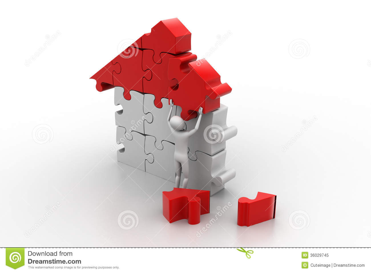 3d man building the house royalty free stock photo for Build a house online free