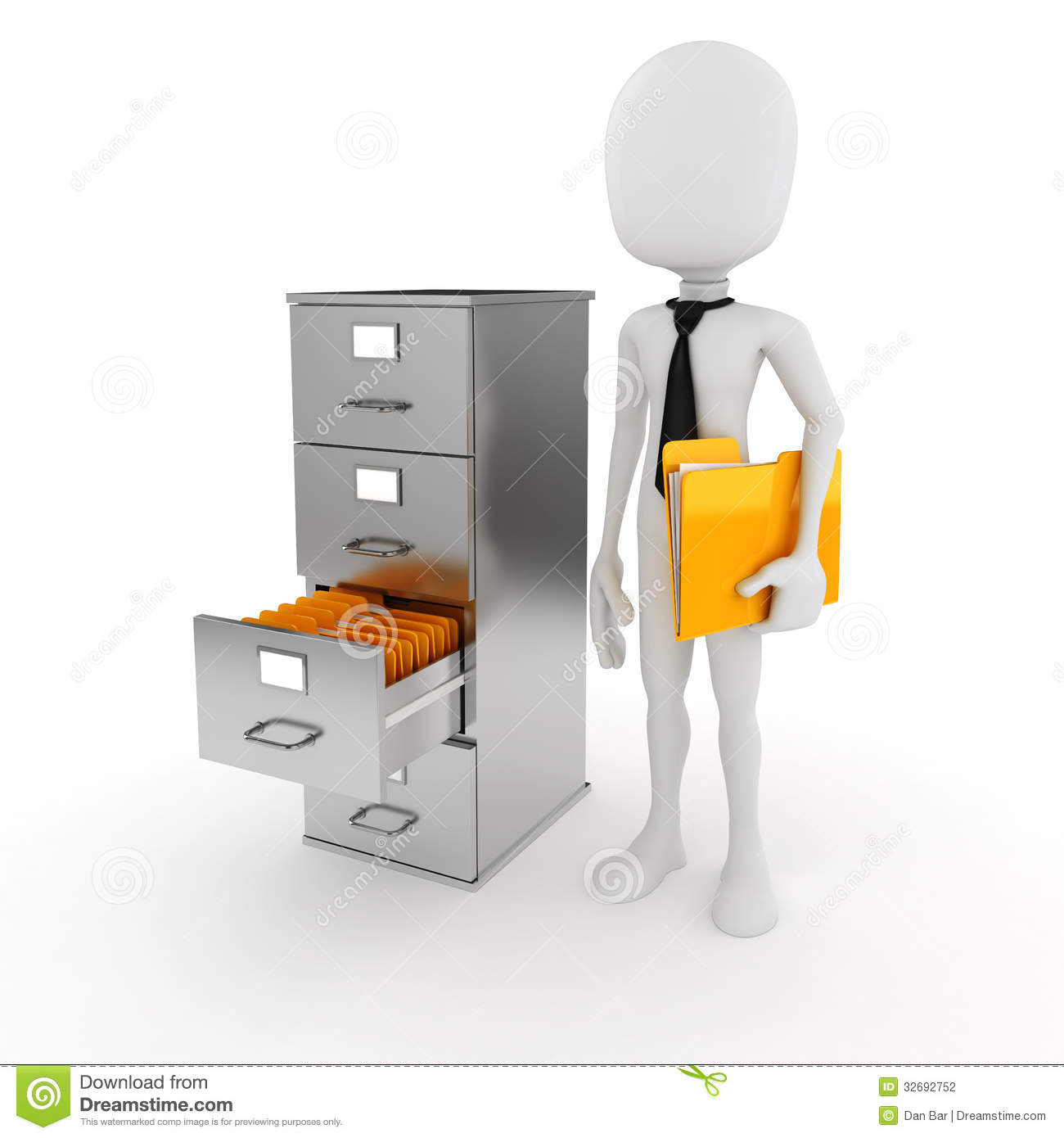 3d Man Business Man And File Cabinet Stock Photography