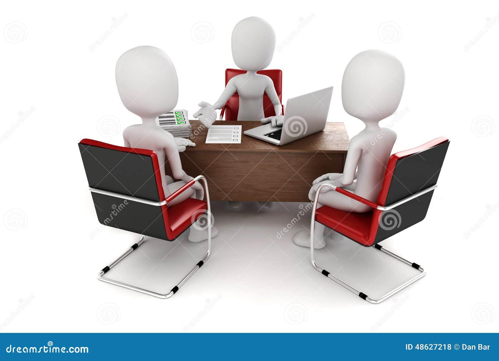 3d Man Business Meeting Job Interview Stock Illustration