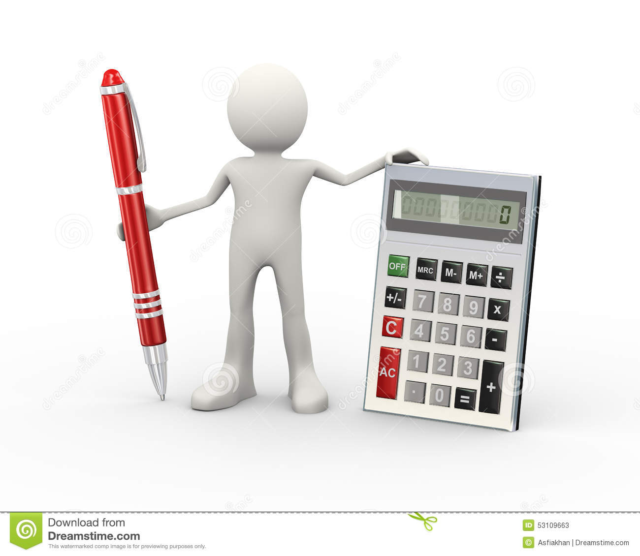 Person Pricing: 3d Man With Calculator And Pen Stock Illustration