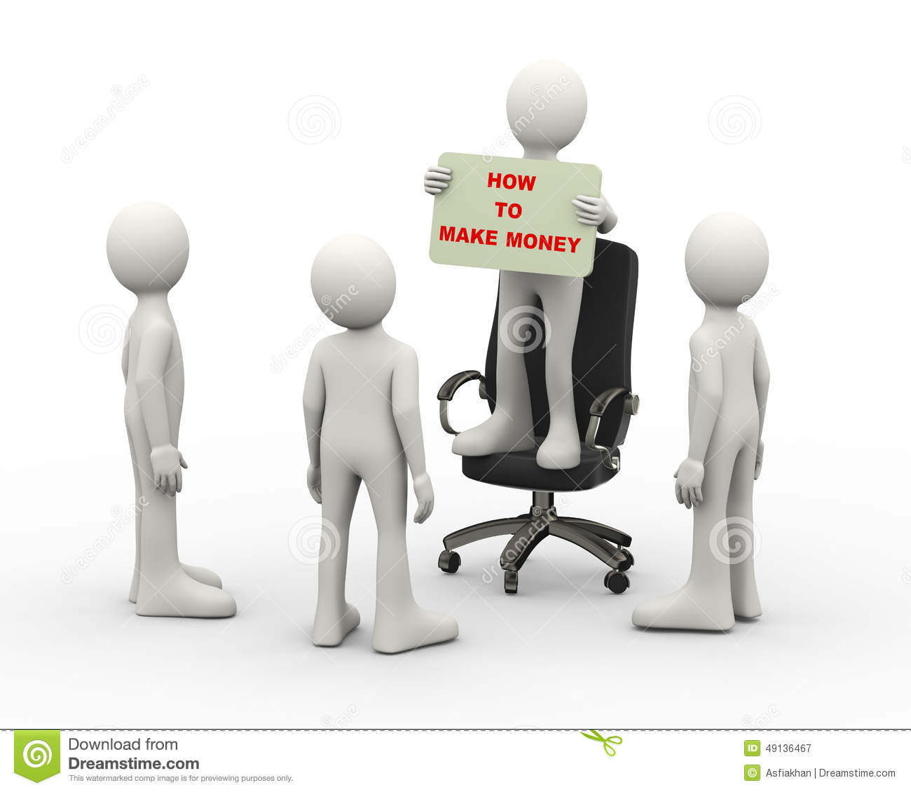 3d Man On Chair Holding Make Money Banner Stock ...