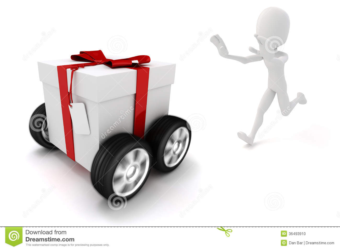 3d Man Chasing A Moving Present Box Stock Photo - Image: 36493910