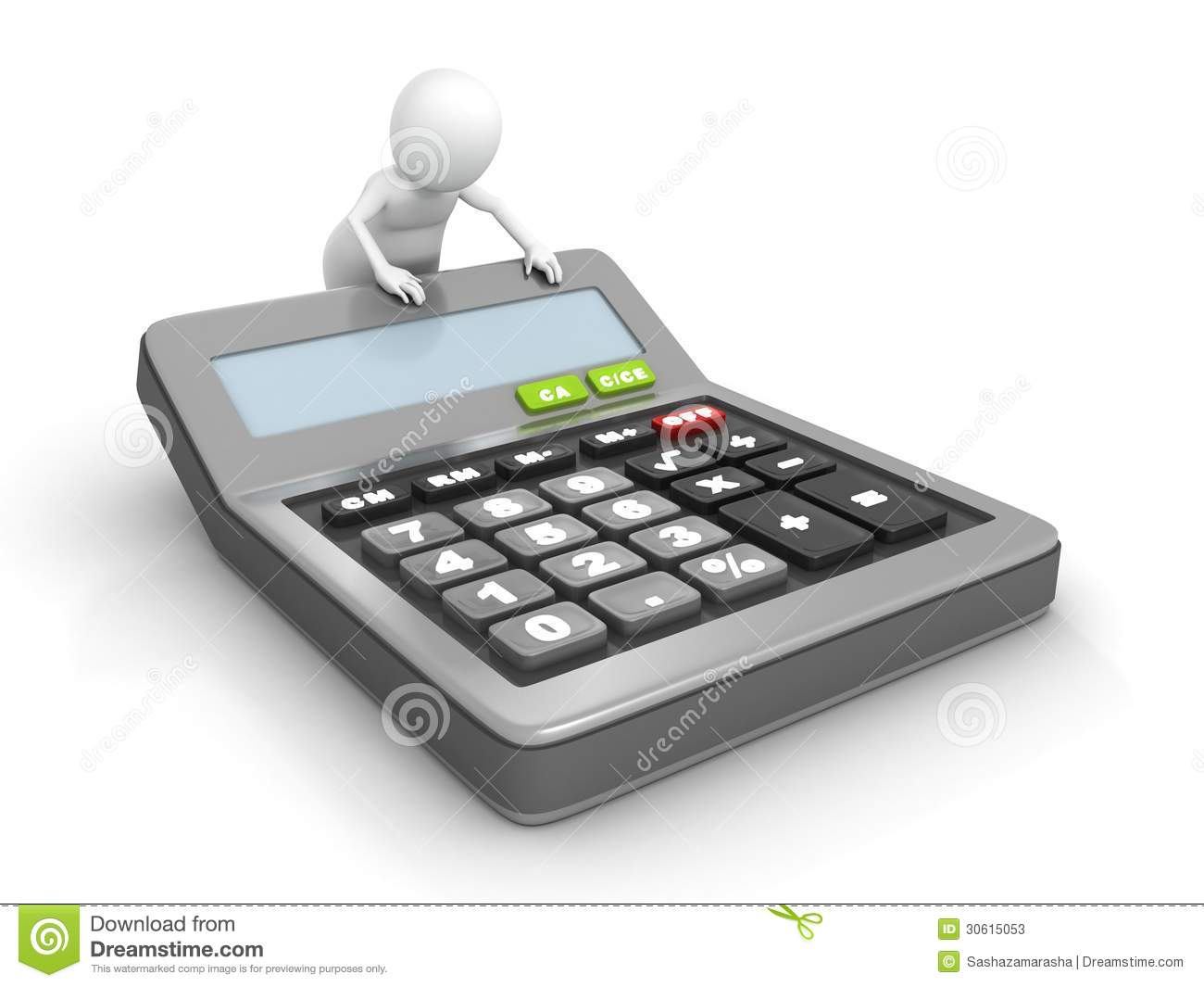 3d Man With A Classic Office Calculator Stock Photos