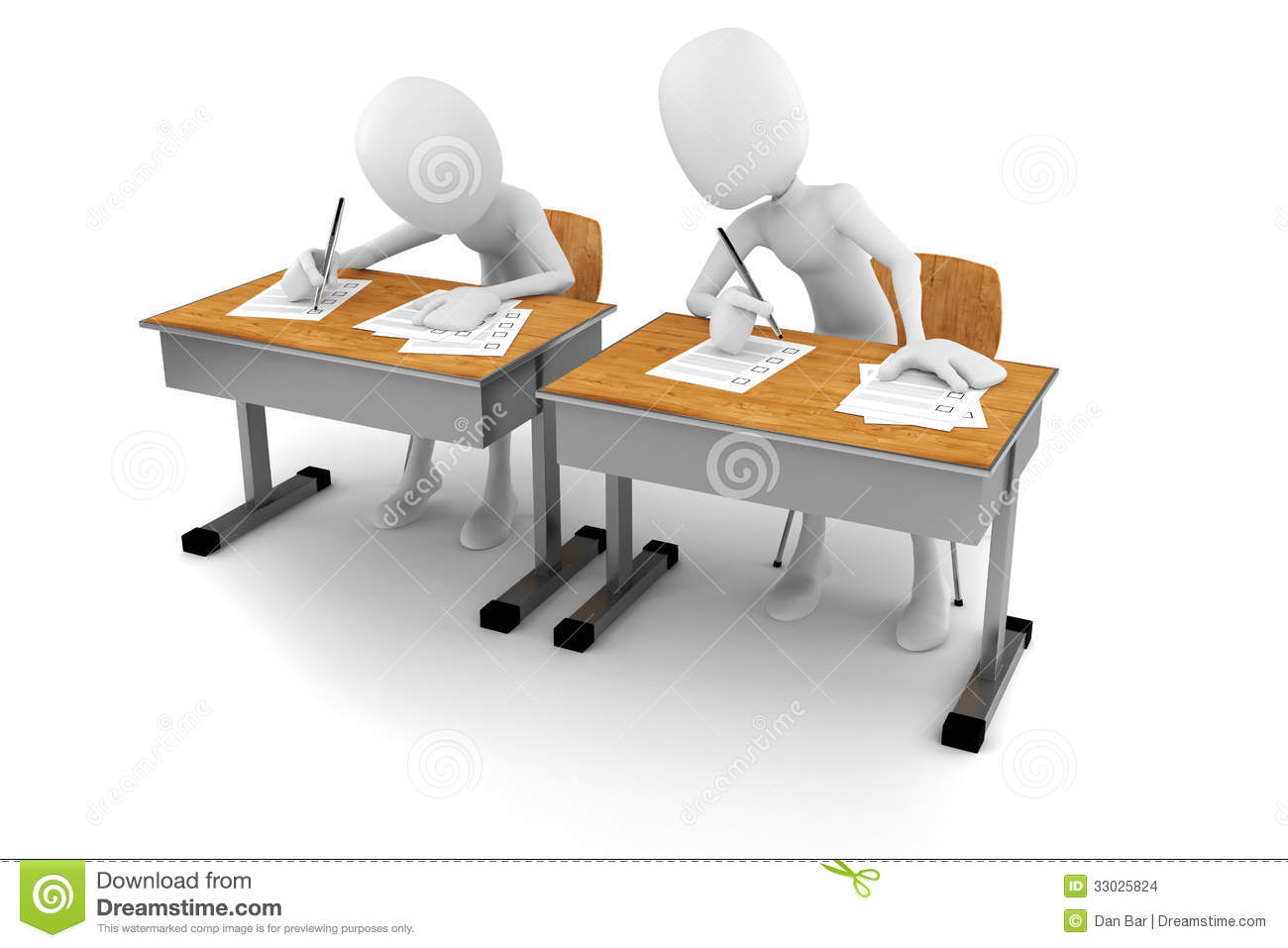 3d man in classroom exam test stock illustration image 33025824. Black Bedroom Furniture Sets. Home Design Ideas