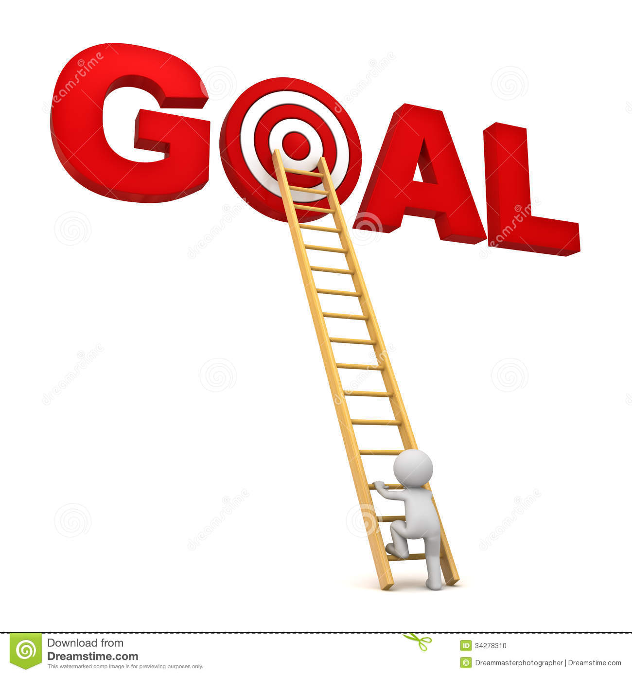 3d Man Climbing Ladder To The Red Target In Word Goal Over White ... for Student Climbing Ladder  166kxo