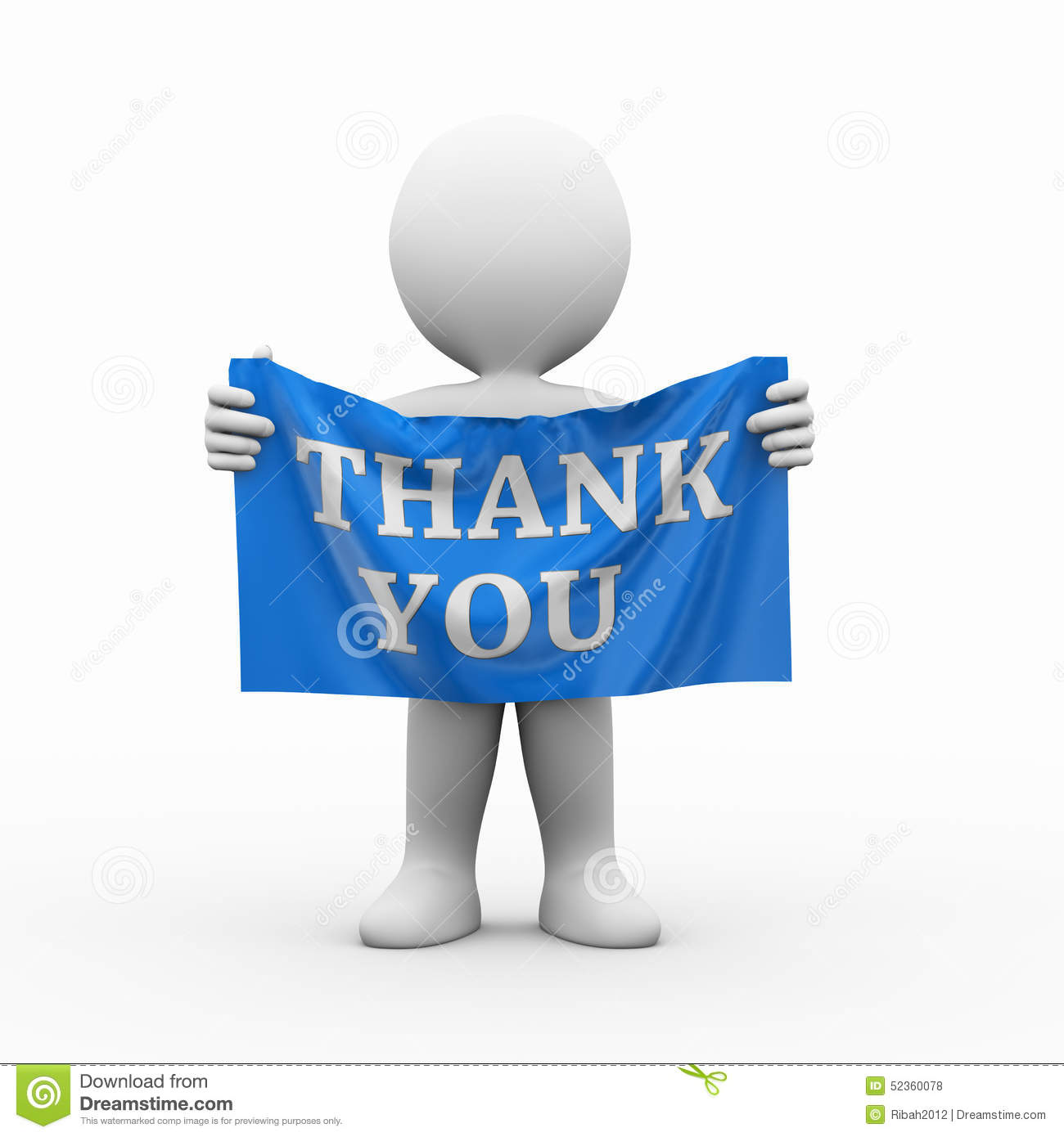 Men holding the word party concept 3d illustration stock photo - 3d Man Cloth Banner Thank You Royalty Free Stock Photos
